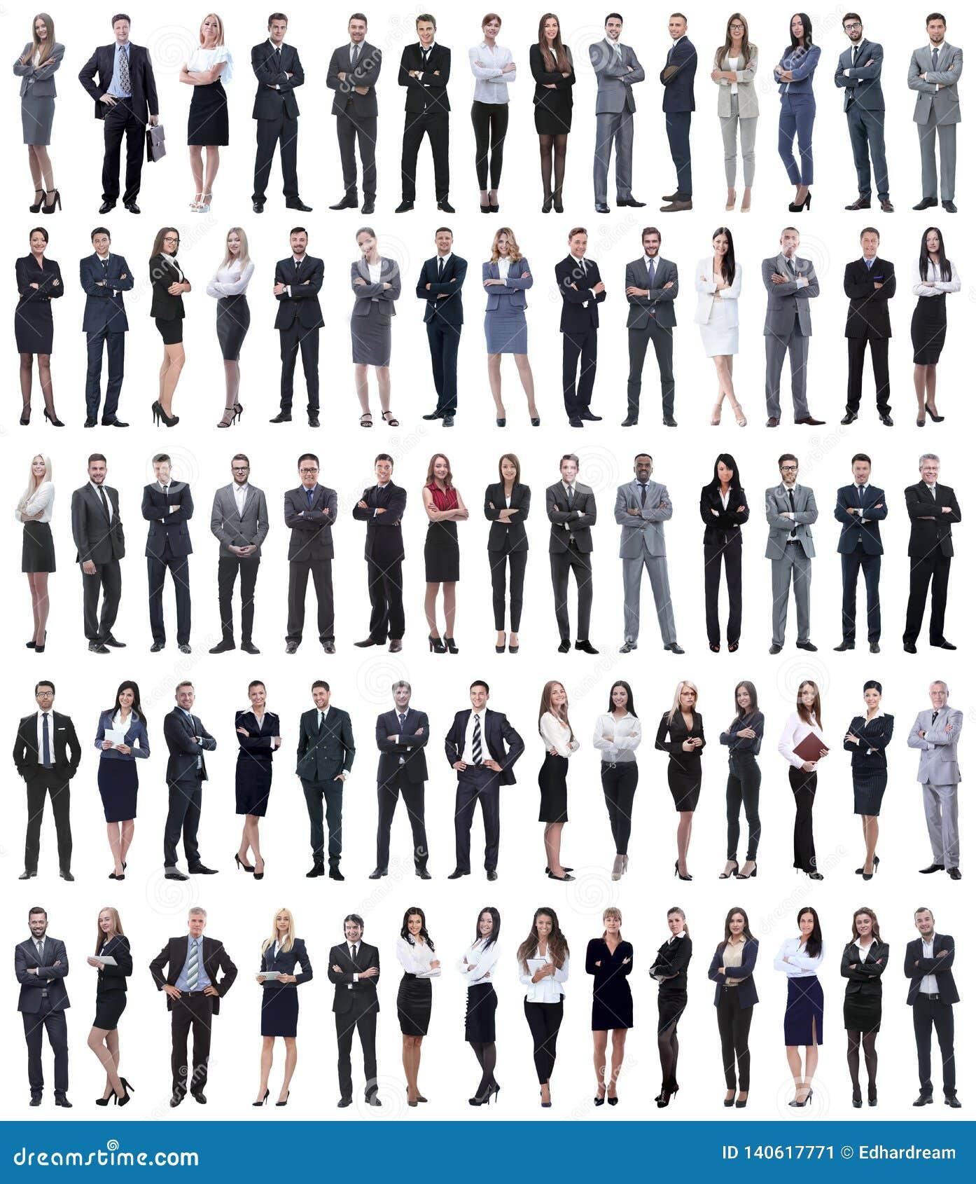 Коллаж молодых бизнесменов стоя в ряд