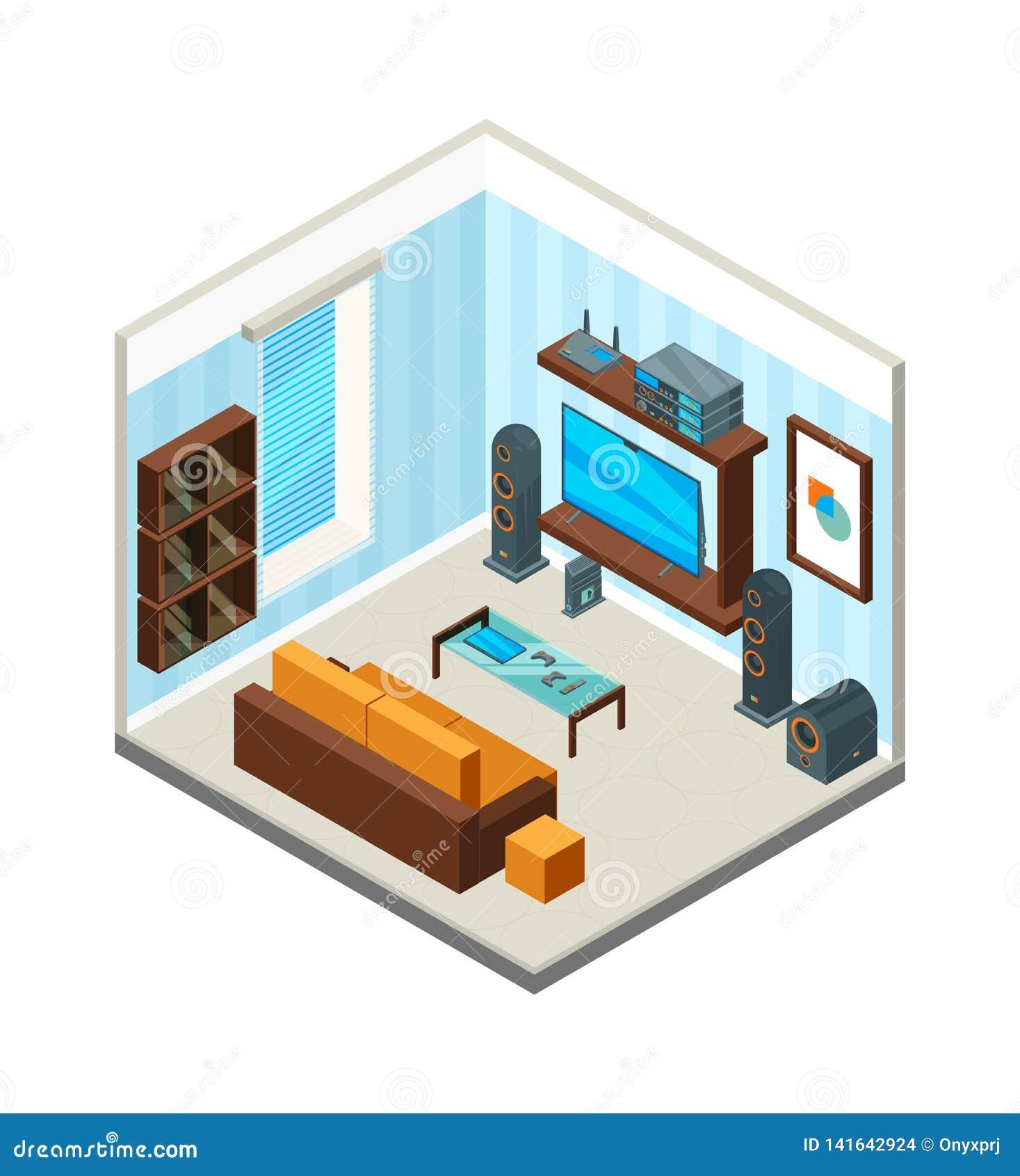 комната изображения 3d нутряная живущая Изображение вектора аудиосистемы компьютера телевизора консоли таблицы домашнего театра р
