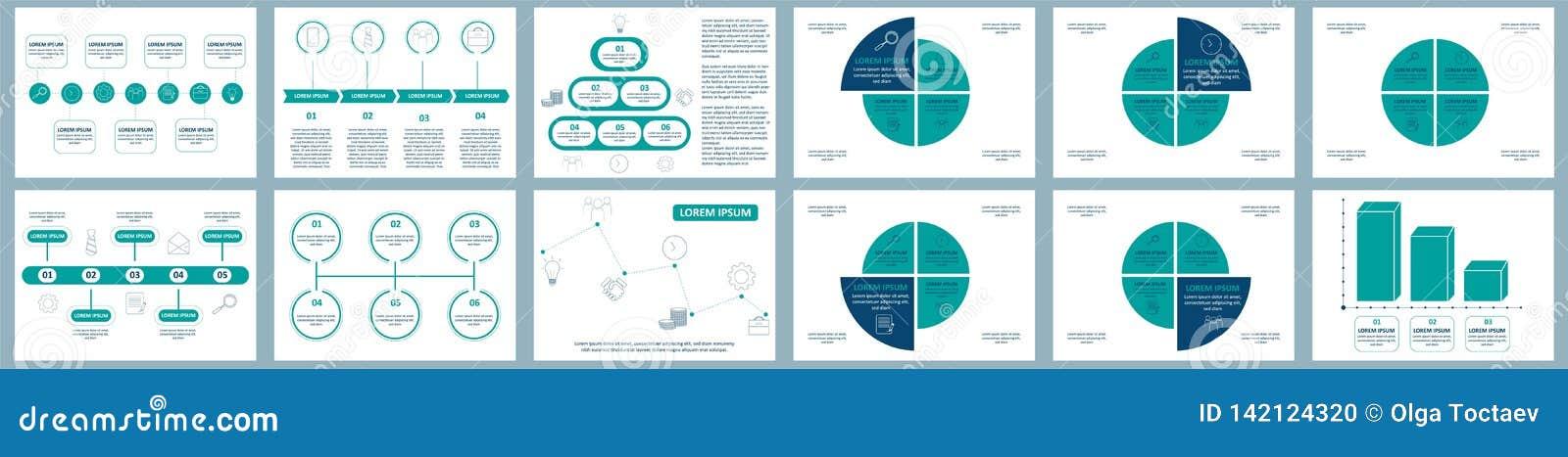 Комплект infographics вектора Собрание шаблонов для диаграммы цикла, диаграммы, представления и круглой диаграммы Концепция дела
