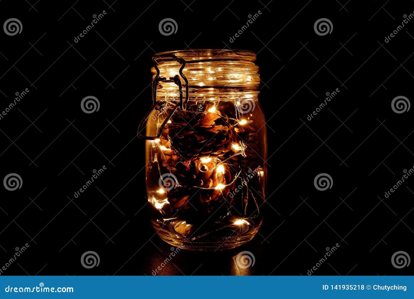Конусы сосны со светом феи в опарнике каменщика