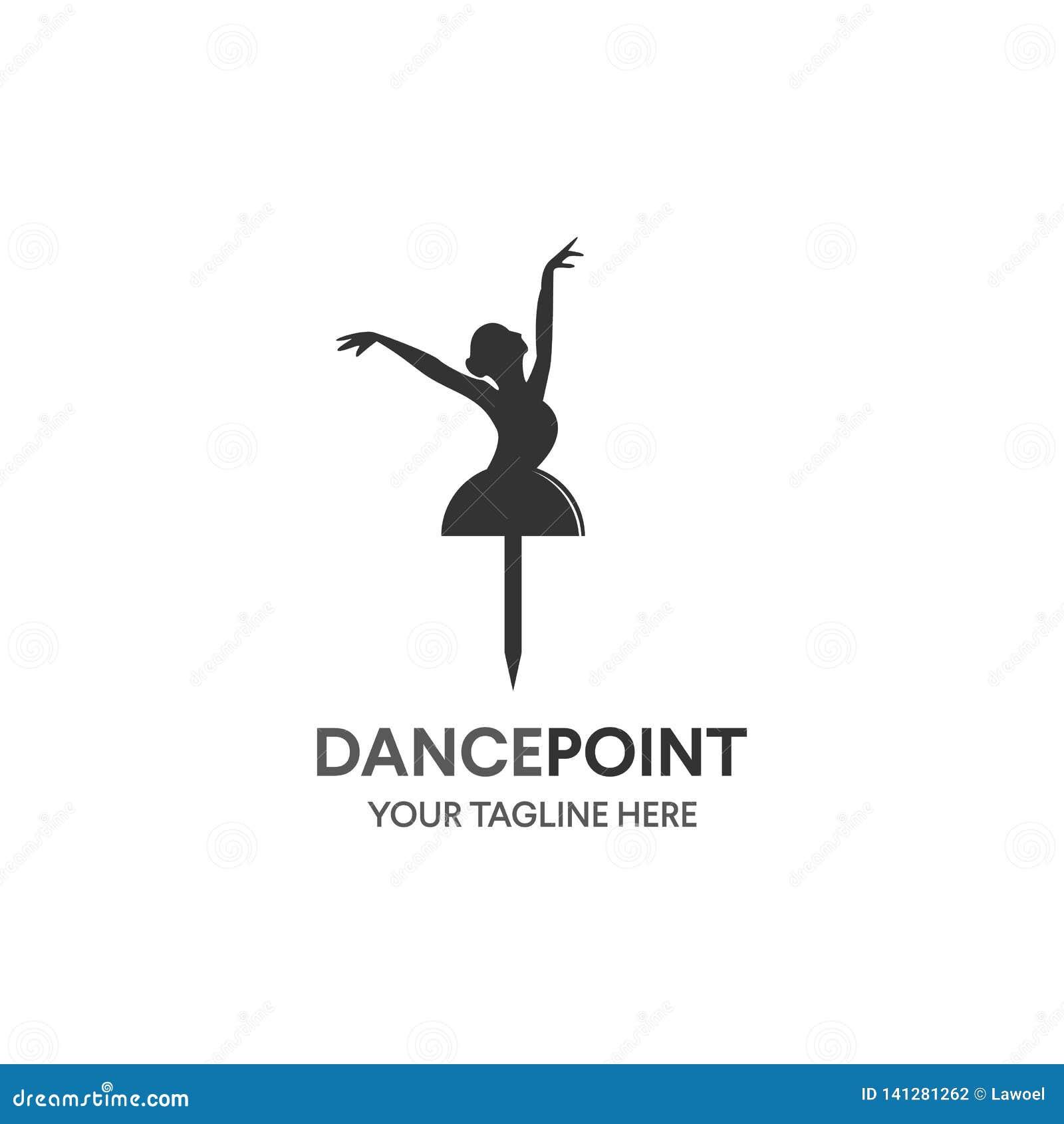 Концепция значка танца Шаблон дизайна студии тела балета Логотип характера людей Предпосылка знамени класса фитнеса с символом зн