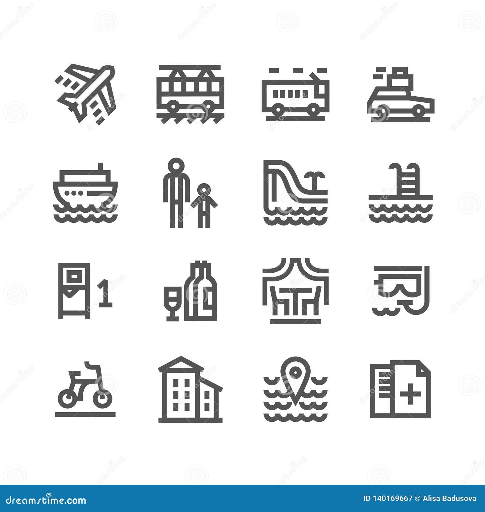 Концепция иллюстрации вектора Touristic набора значка Черным по белому предпосылка