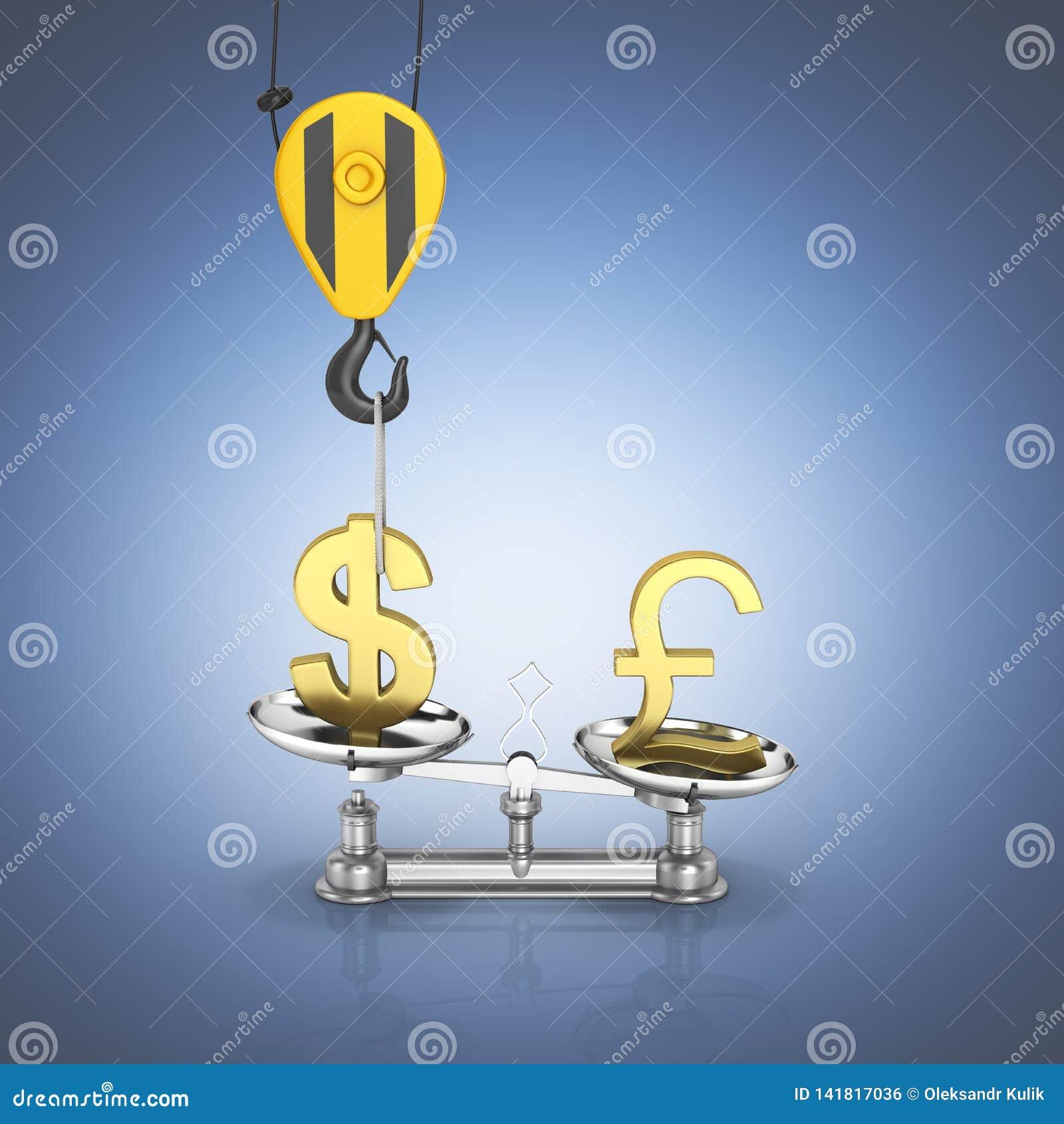 Концепция доллара поддержки курса против евро кран вытягивает доллар вверх и понижает фунт стерлингов на темно-синем градиенте