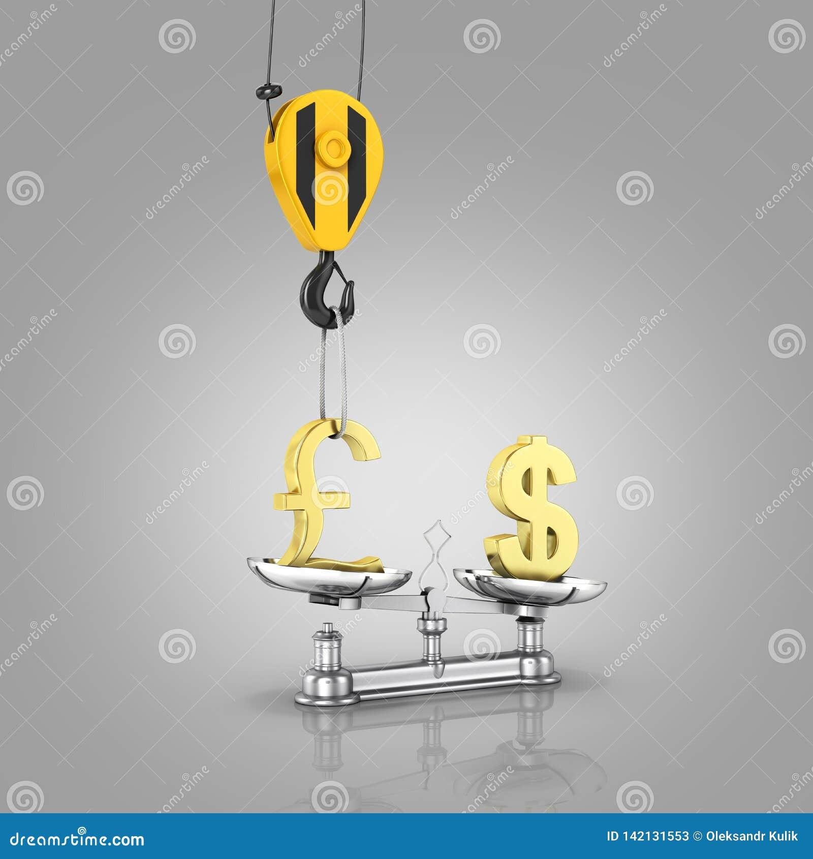 Концепция доллара поддержки курса против фунта кран вытягивает фунт вверх и понижает доллар на серой предпосылке 3d градиента