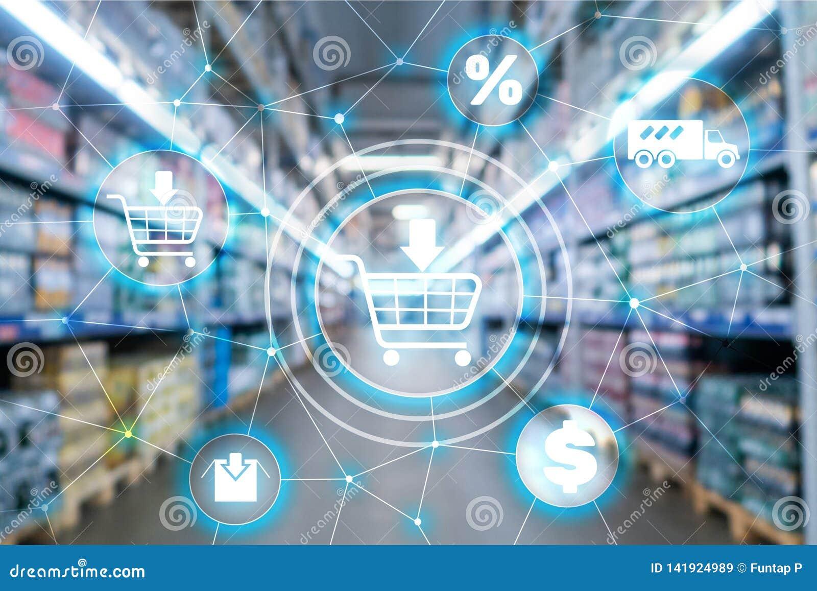 Концепция распределения маркетингового канала Ecommerce корзины на предпосылке супермаркета