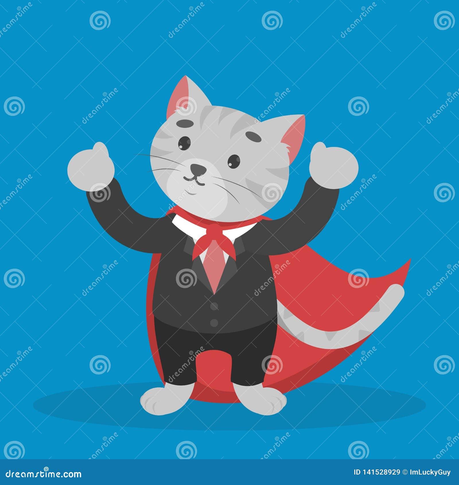 Кот дела в красном плаще Герой в офисе