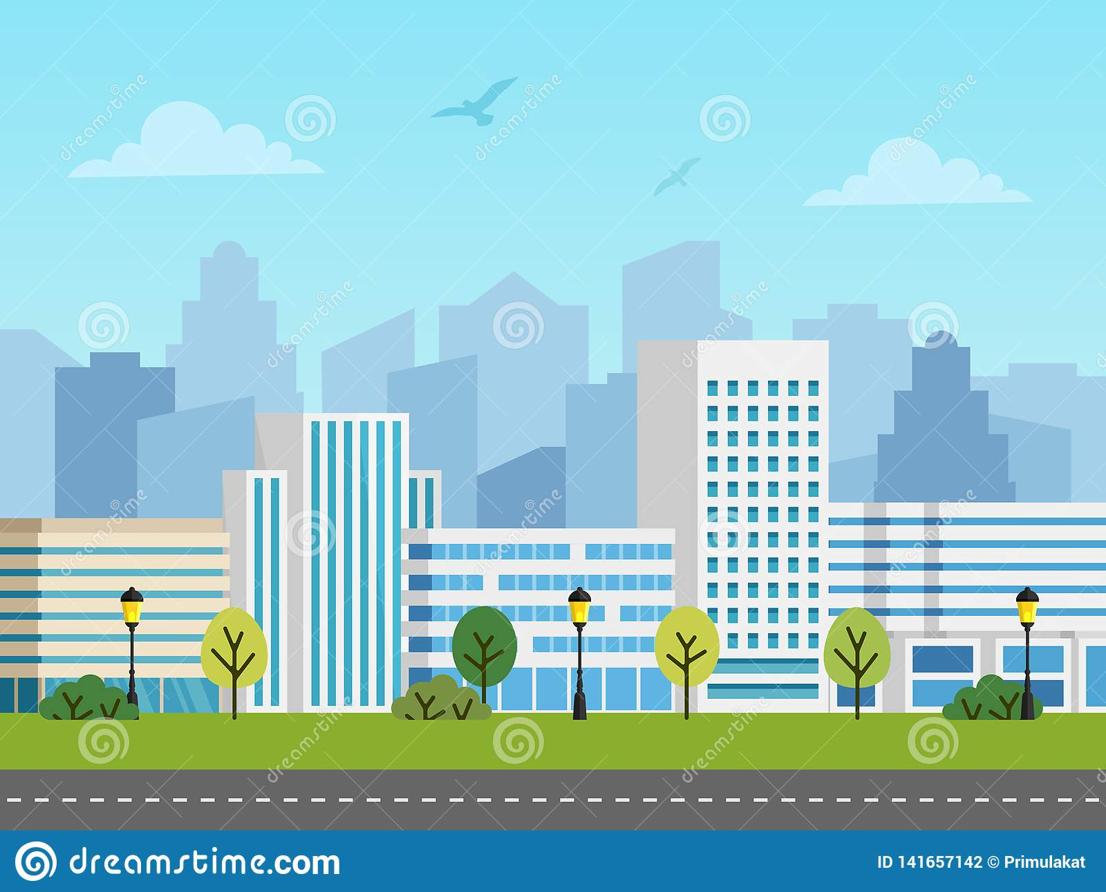Ландшафт, здания и небоскребы вектора города городской