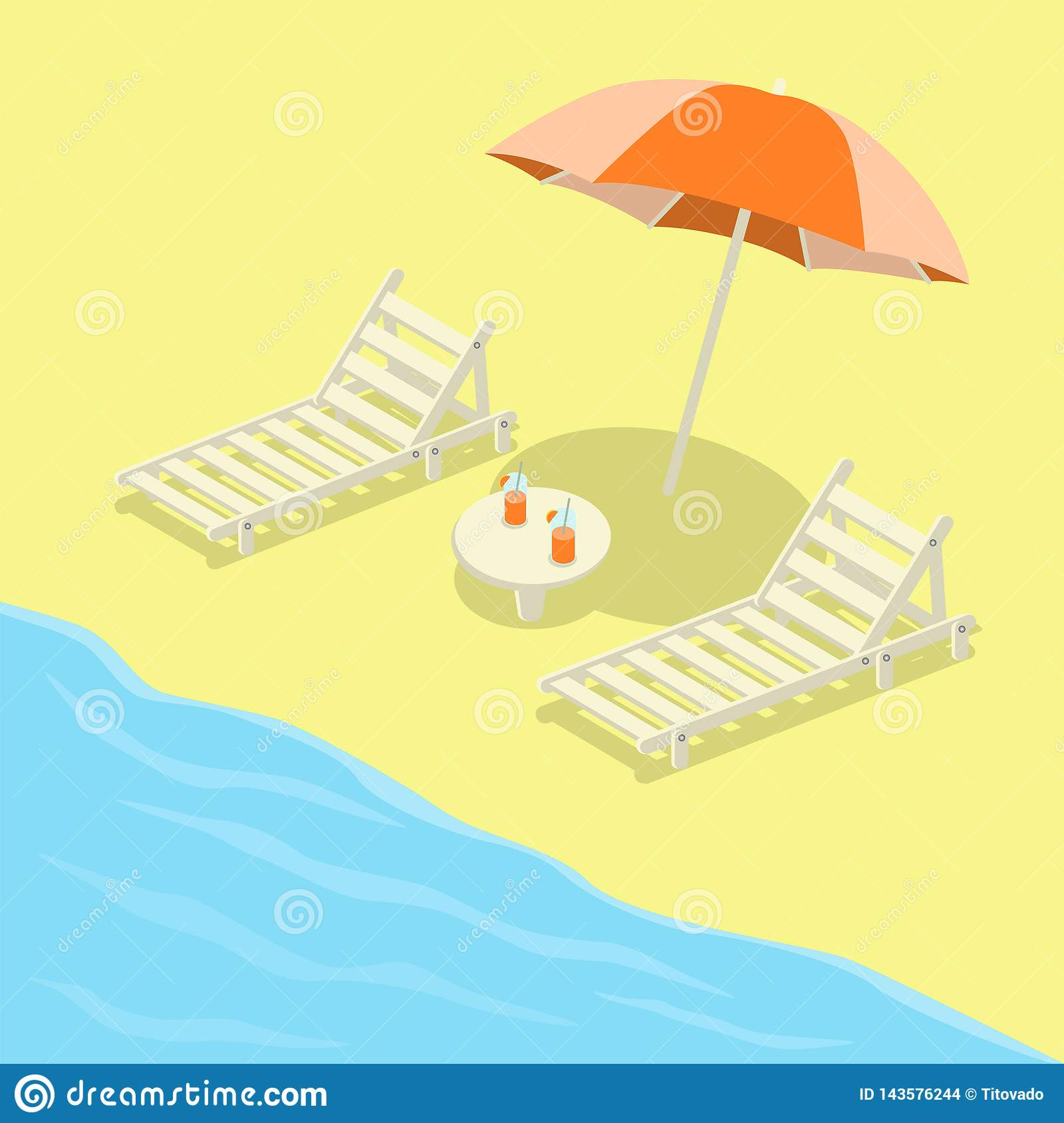 Deckchairs on the beach with umbrella