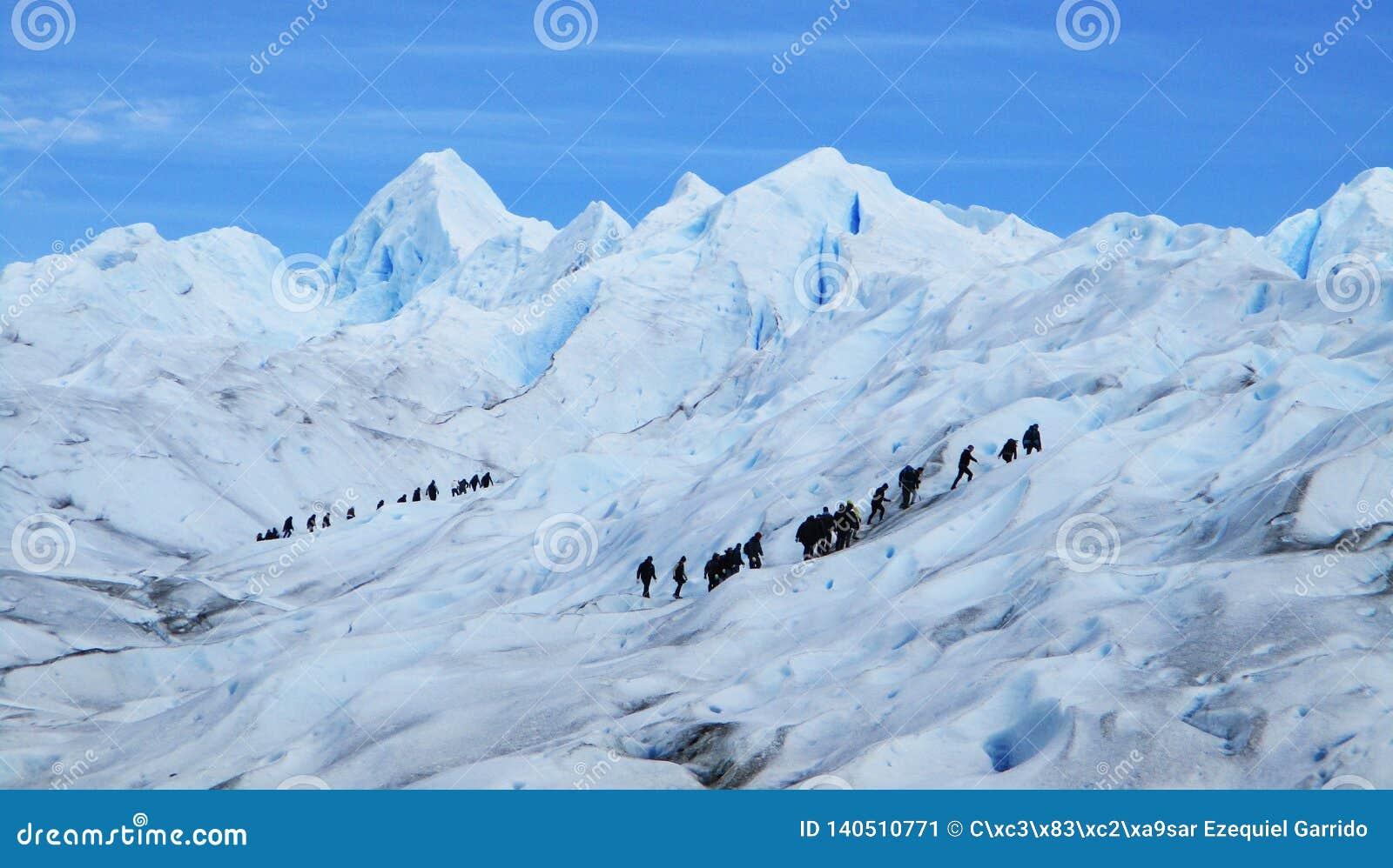 Лед Trekking с туристами, Santa Cruz Аргентина ледника Perito Moreno большой