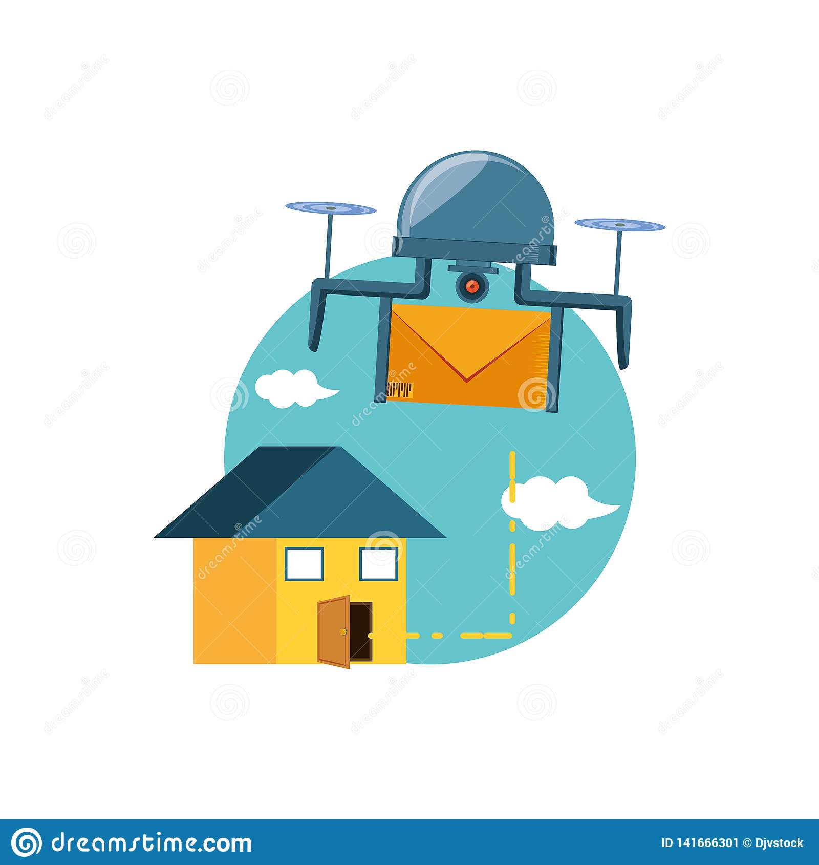 Летание трутня с конвертом и домом