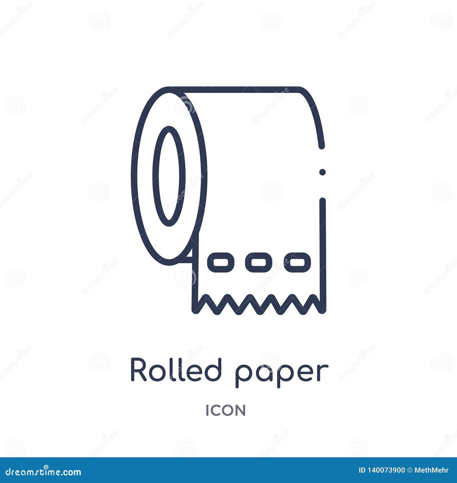 Линейная свернутая бумага для значка bathroom от медицинского собрания плана Тонкая линия свернула бумагу для изолированного знач