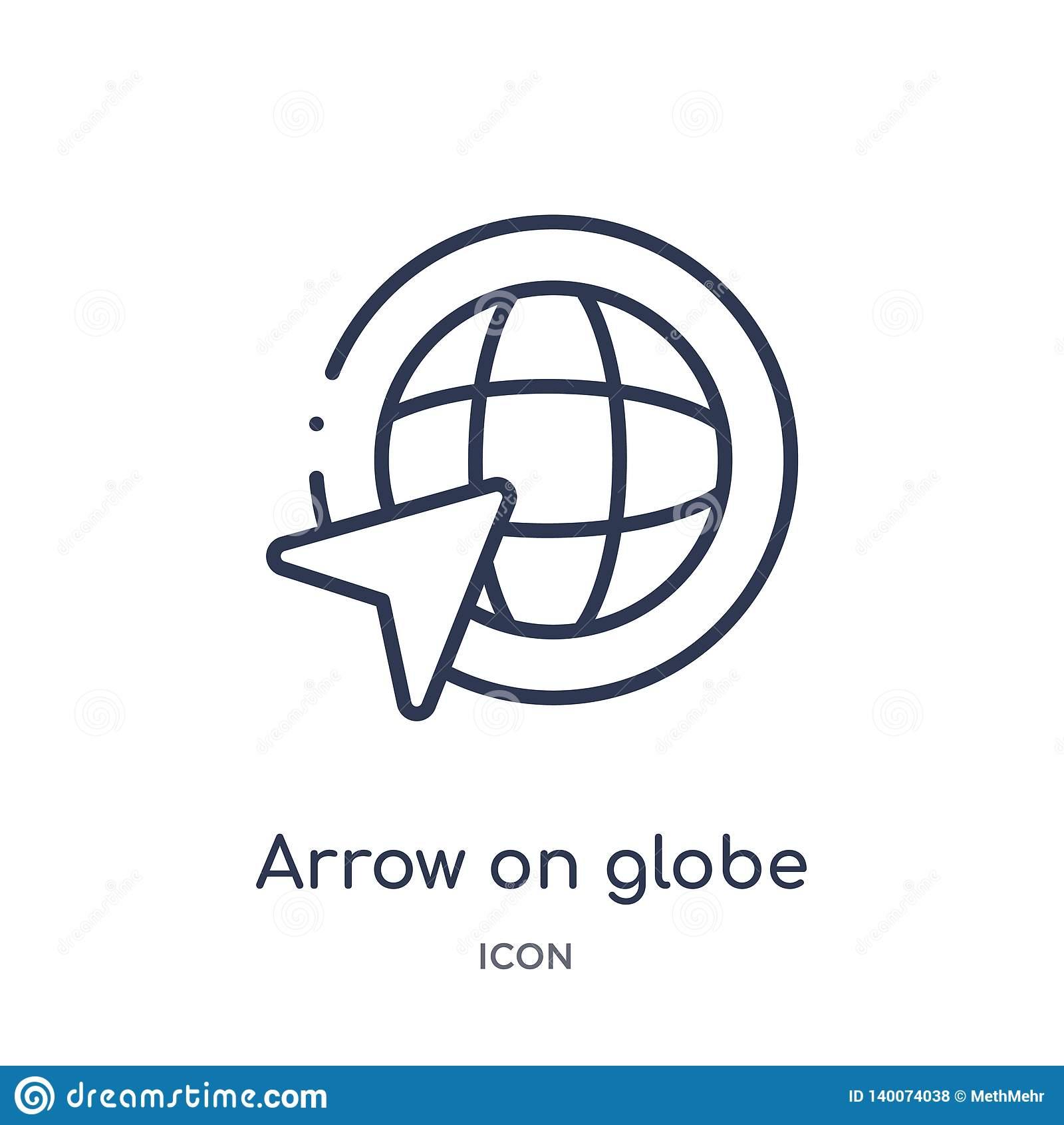Линейная стрелка на значке глобуса от собрание плана карт и флагов Тонкая линия стрелка на значке глобуса изолированном на белой