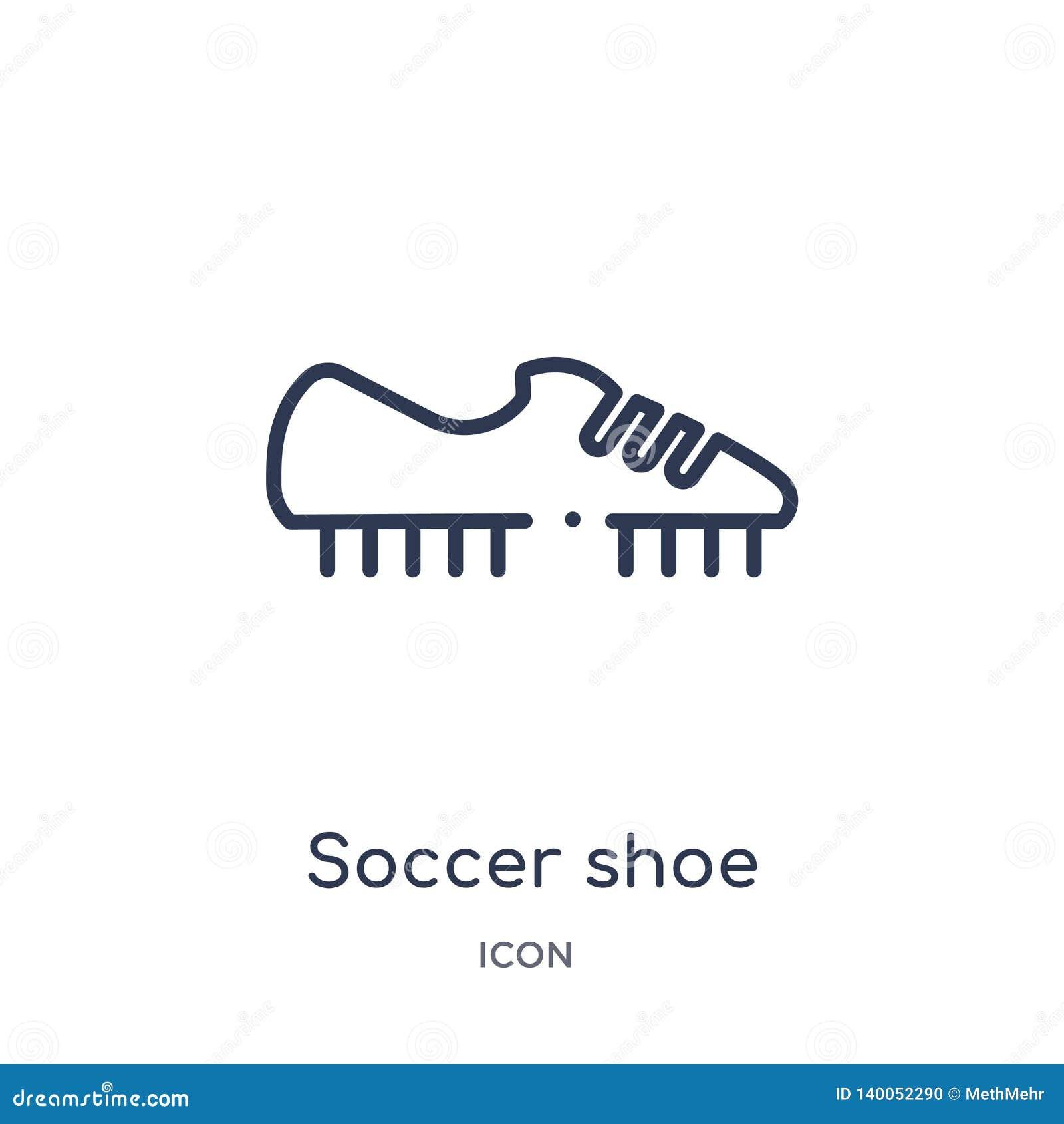 Линейный значок ботинка футбола от собрания плана одежд Тонкая линия вектор ботинка футбола изолированный на белой предпосылке Бо