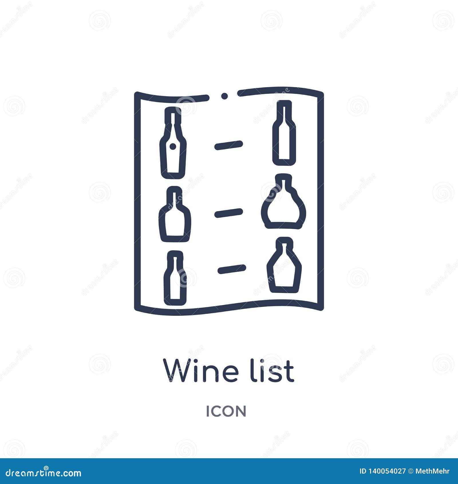 Линейный значок винной карты от собрания плана напитков Тонкая линия вектор винной карты изолированный на белой предпосылке винна