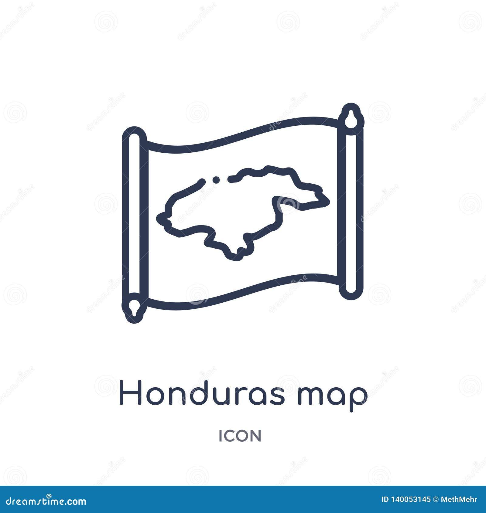 Линейный значок карты Гондураса от собрания плана Countrymaps Тонкая линия вектор карты Гондураса изолированный на белой предпосы