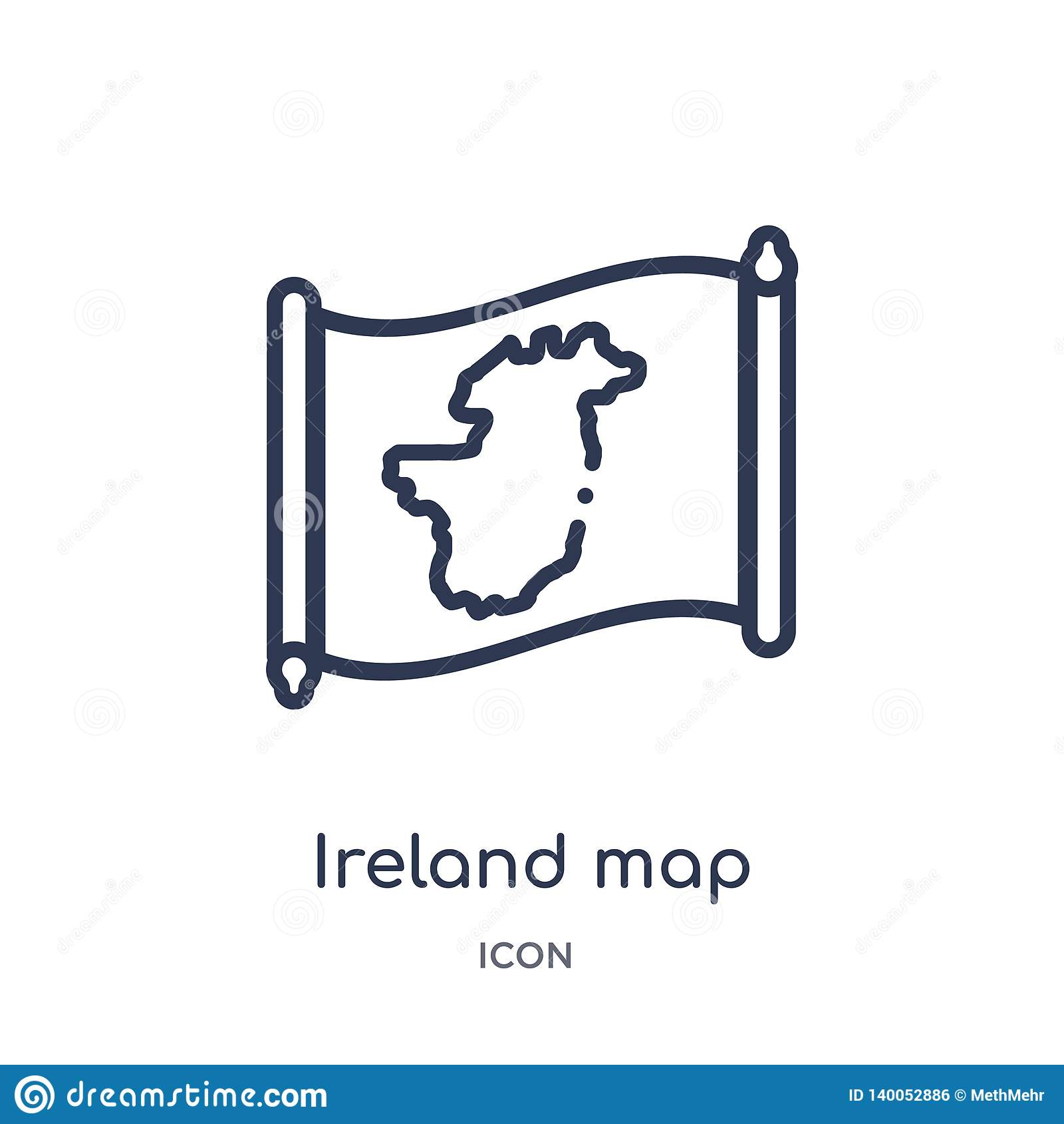 Линейный значок карты Ирландии от собрания плана Countrymaps Тонкая линия вектор карты Ирландии изолированный на белой предпосылк