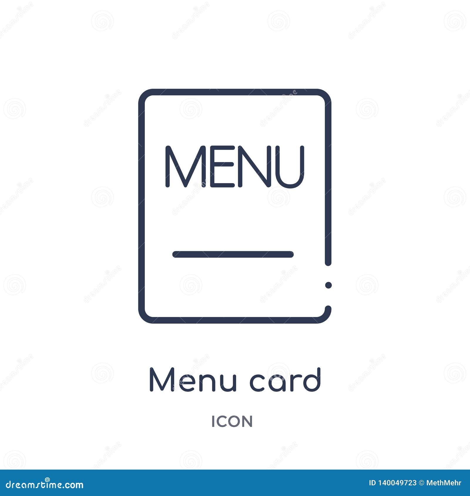 Линейный значок карты меню от собрания плана бистро и ресторана Тонкая линия вектор карты меню изолированный на белой предпосылке