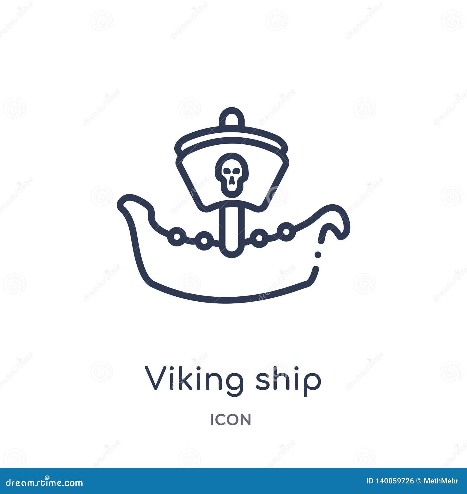 Линейный значок корабля Викинга от собрания плана истории Тонкая линия значок корабля Викинга изолированный на белой предпосылке