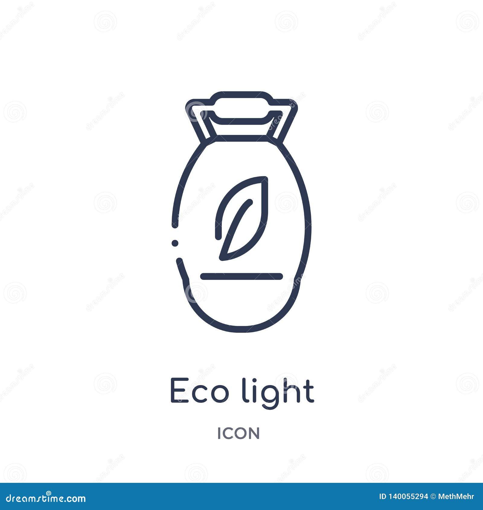 Линейный значок света eco от собрания плана экологичности Тонкая линия вектор света eco изолированный на белой предпосылке свет e