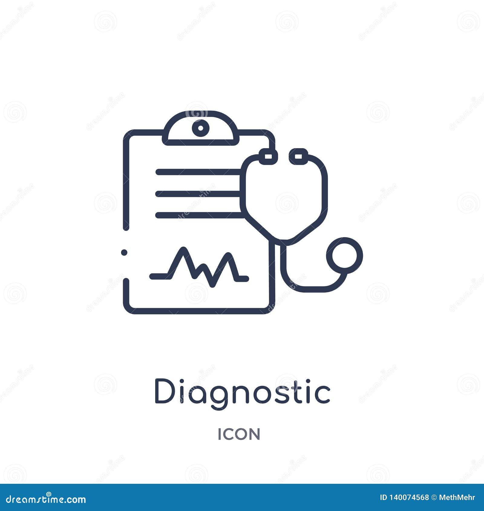 Линейный диагностический значок от медицинского собрания плана Тонкая линия диагностический значок изолированный на белой предпос