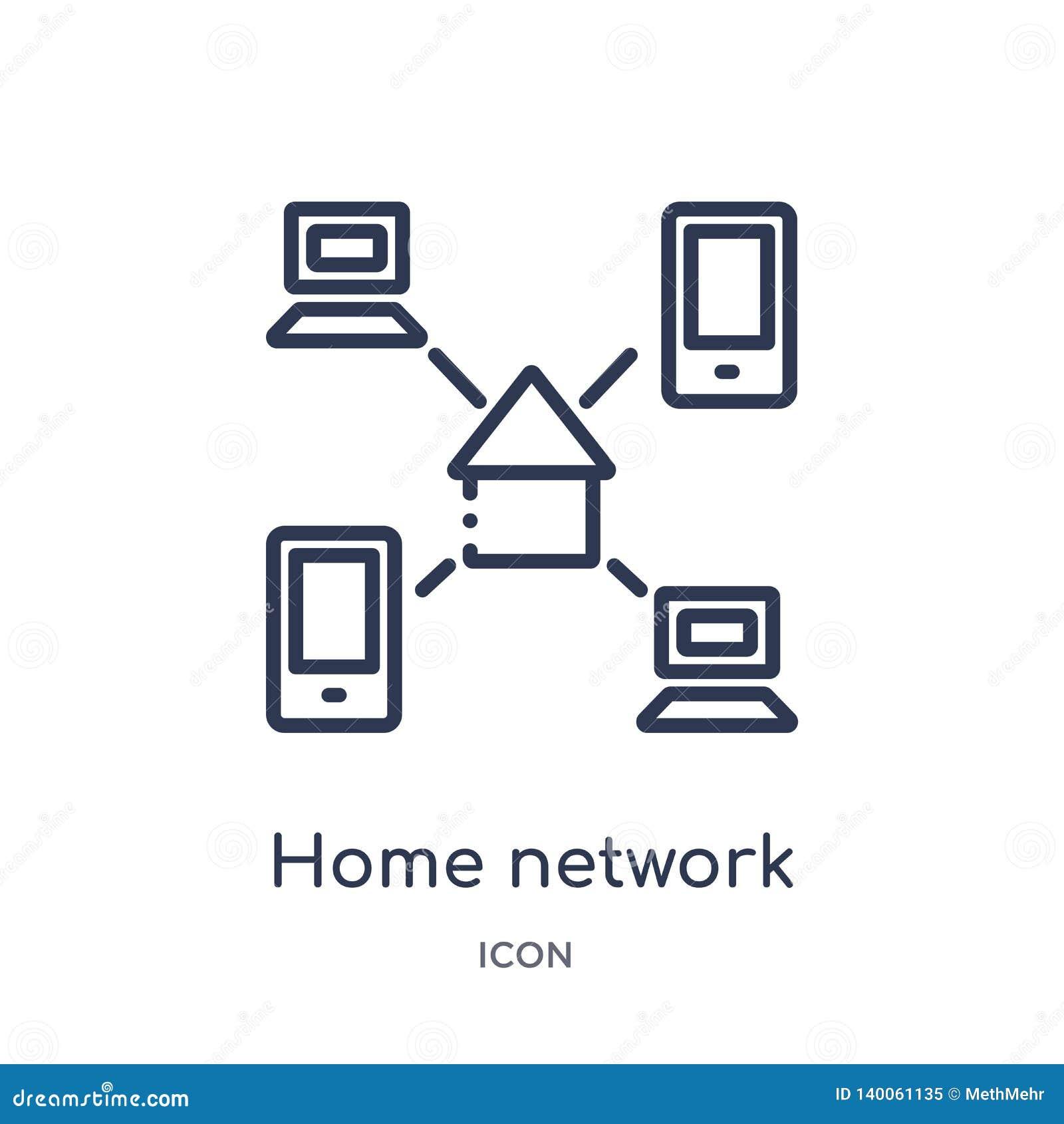 Линейный домашний значок сети от безопасности интернета и собрания плана сети Тонкая линия значок сети дома изолированный на бели