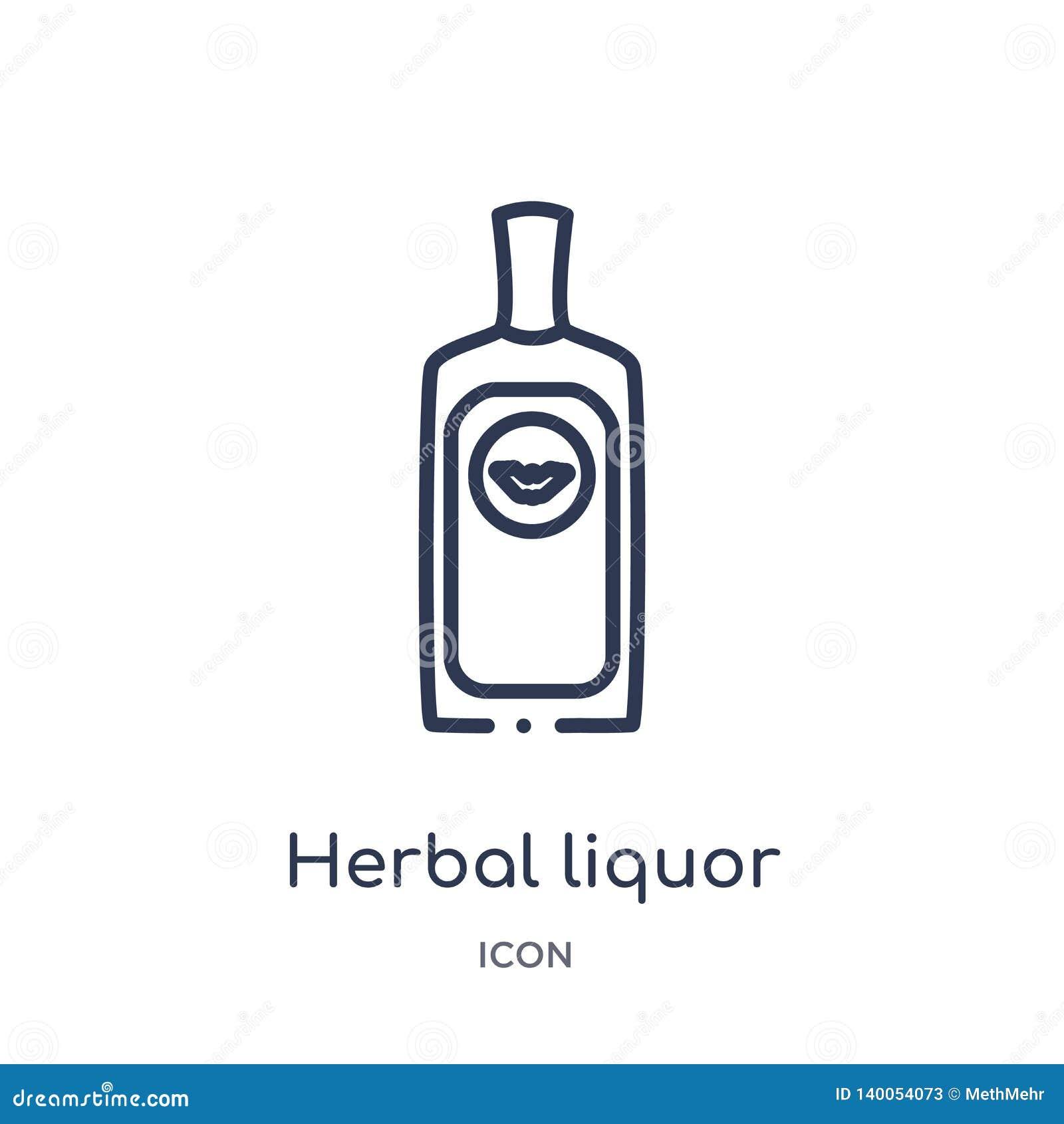 Линейный травяной значок ликера от собрания плана напитков Тонкая линия травяной вектор ликера изолированный на белой предпосылке