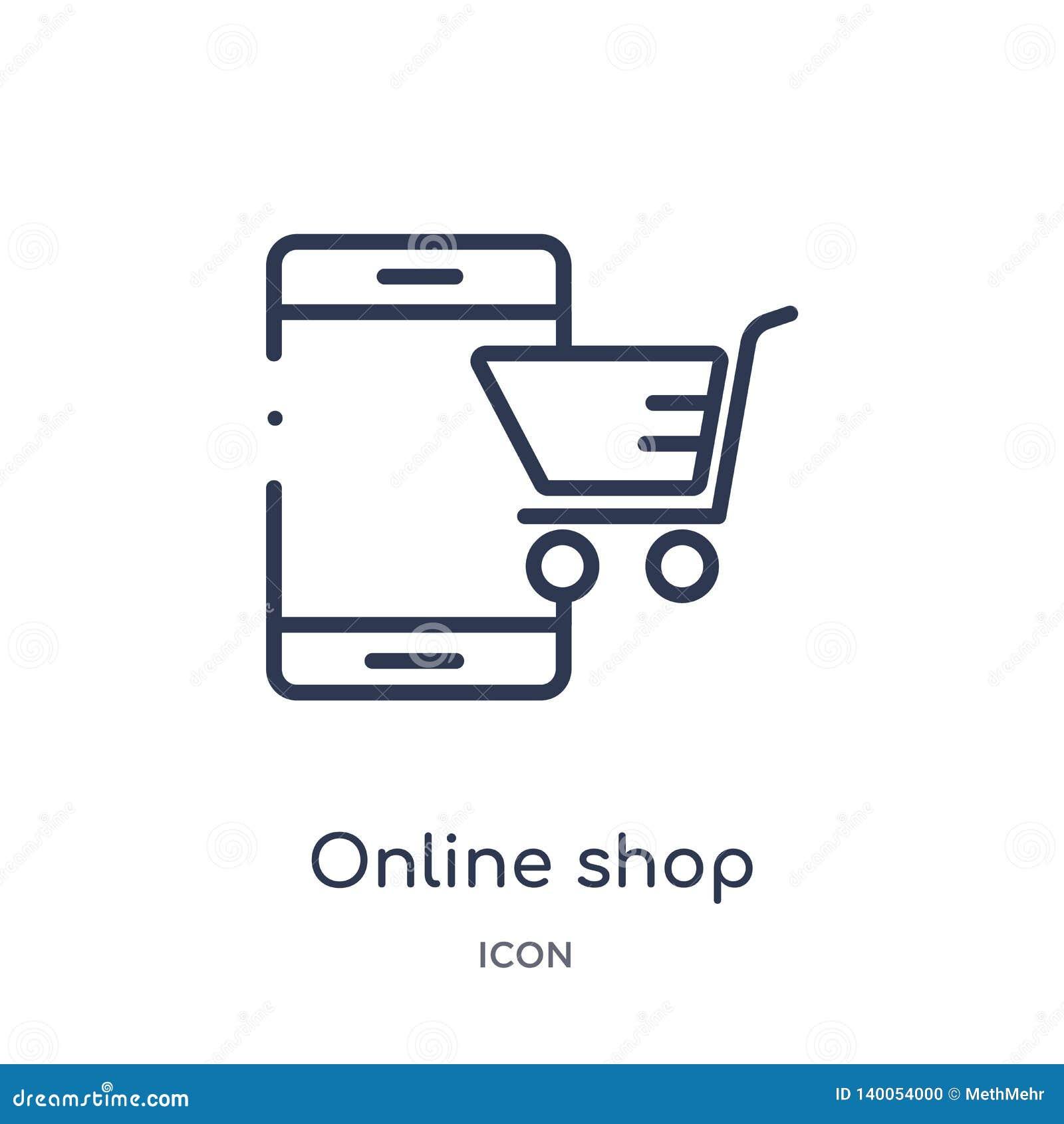 Линейный онлайн значок магазина от собрания плана экономики цифров Тонкая линия онлайн вектор магазина изолированный на белой пре