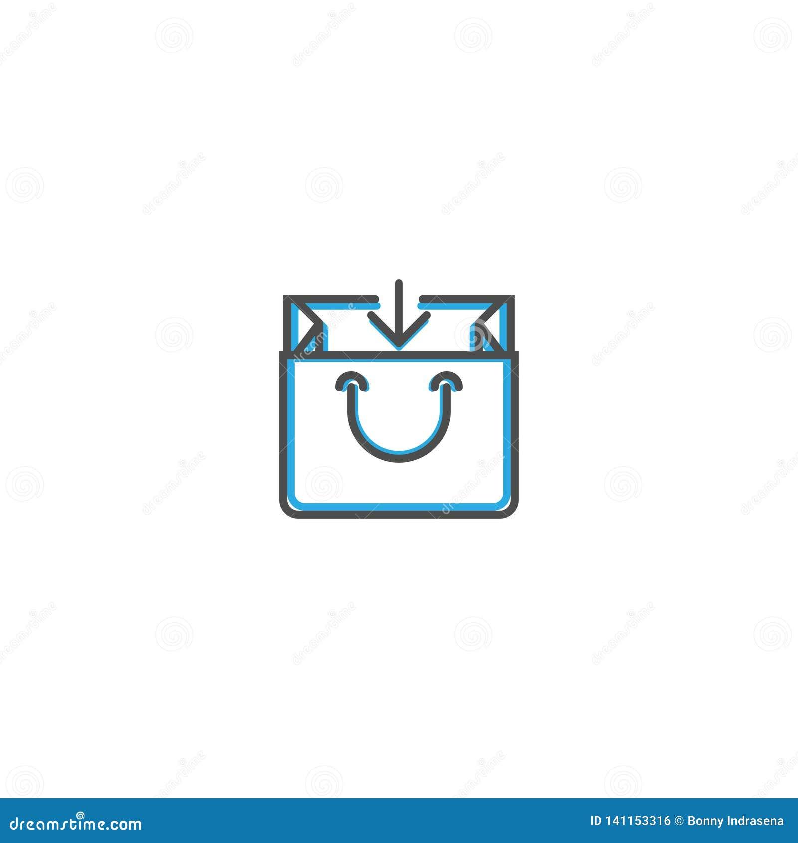 Линия дизайн значка сумки Иллюстрация вектора значка дела