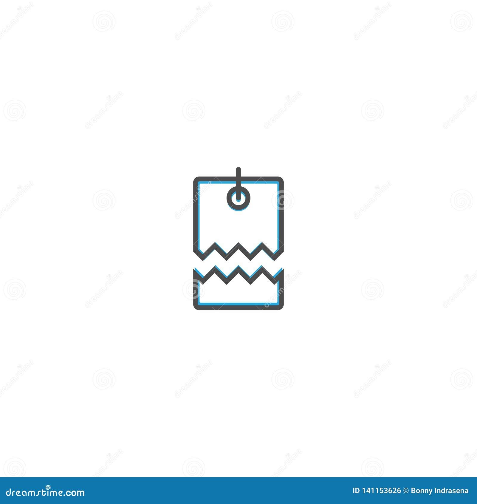 Линия дизайн значка ценника Иллюстрация вектора значка дела