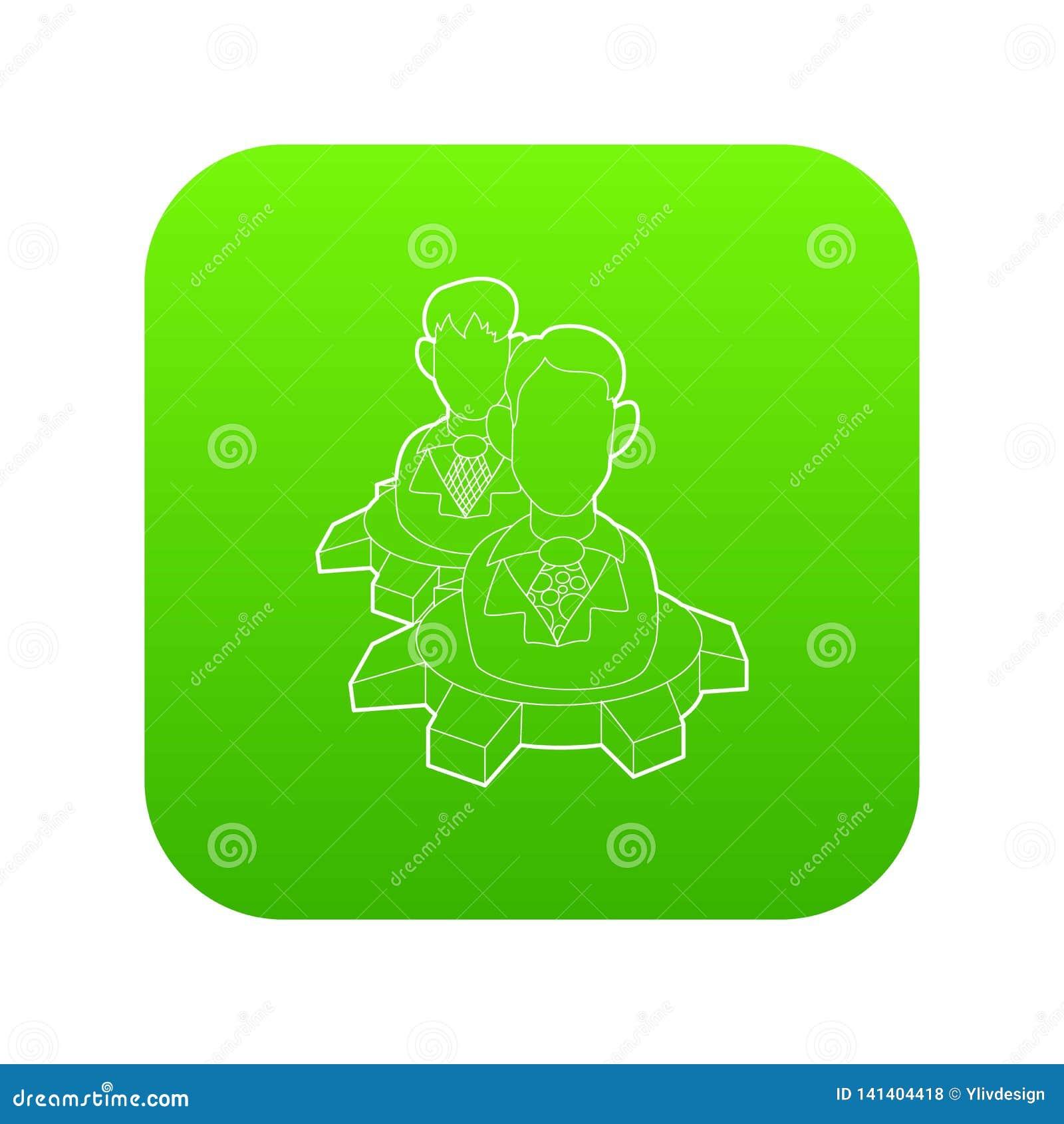 Люди внутри вектора зеленого цвета значка колеса шестерни