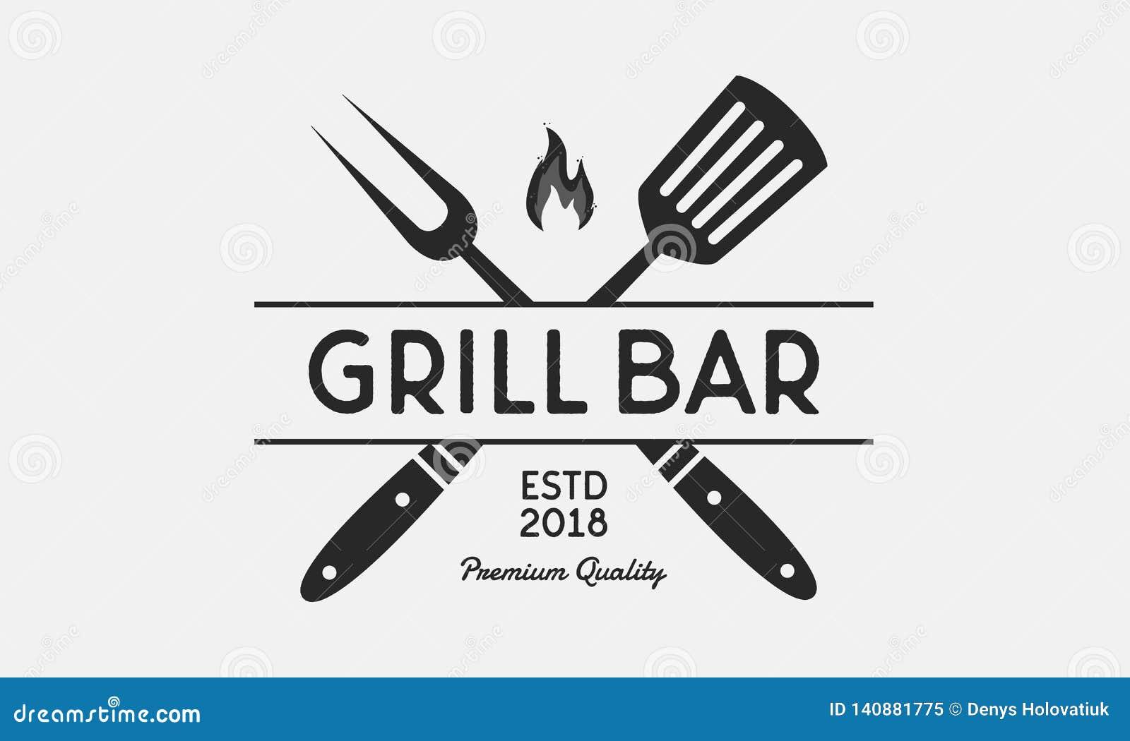Логотип бар-ресторана гриля Вилка и шпатель гриля Винтажная эмблема BBQ шаблон также вектор иллюстрации притяжки corel