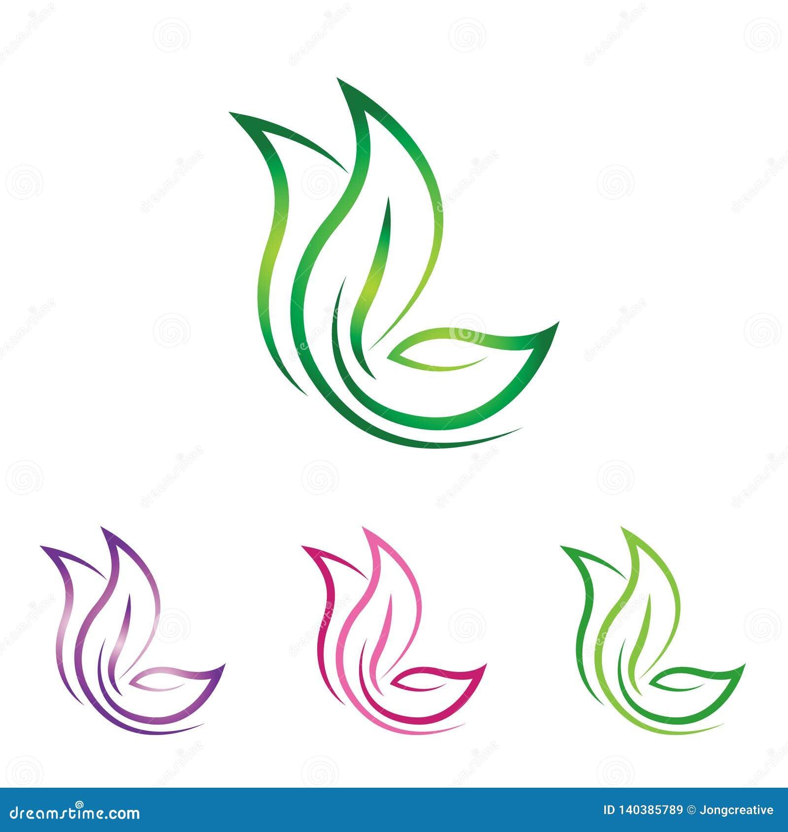 Логотип природы лист бабочки - абстрактная линия искусство