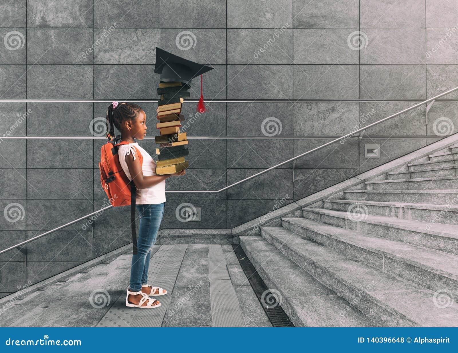 Маленькая девочка с рюкзаком на ее плече, и книги в руке, которая предпринимает курс подготовки думая о градации