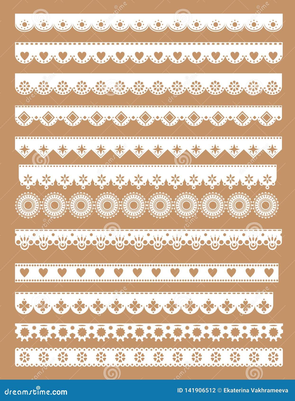 Мега набор границ шнурка scallop Иллюстрация вектора в типе год сбора винограда