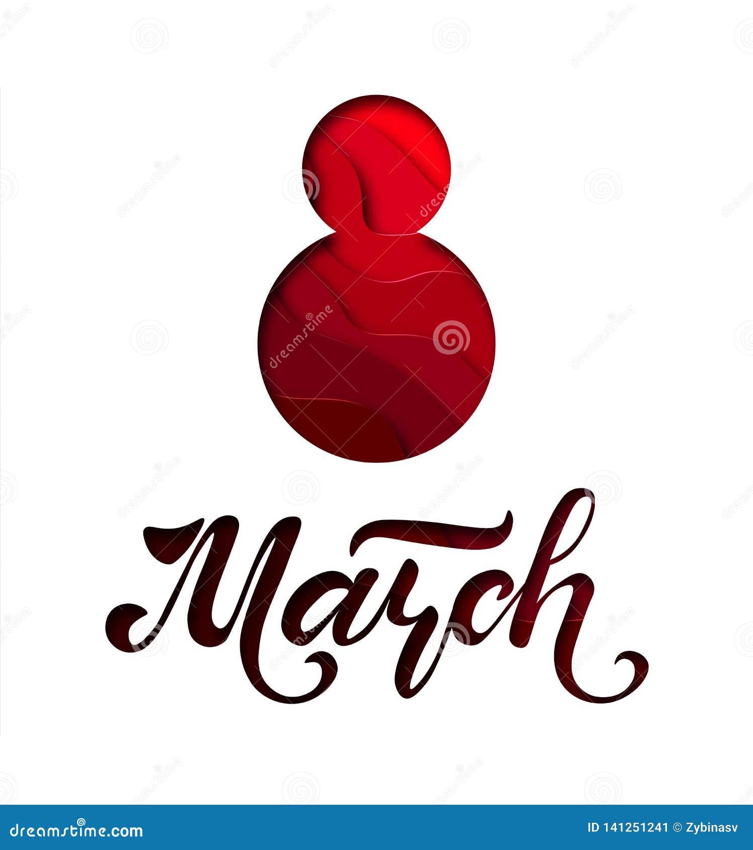 Международный день ` s женщин Знамя, летчик на 8-ое марта Литерность нарисованная рукой Дизайн отрезка бумаги Поздравлять и желат
