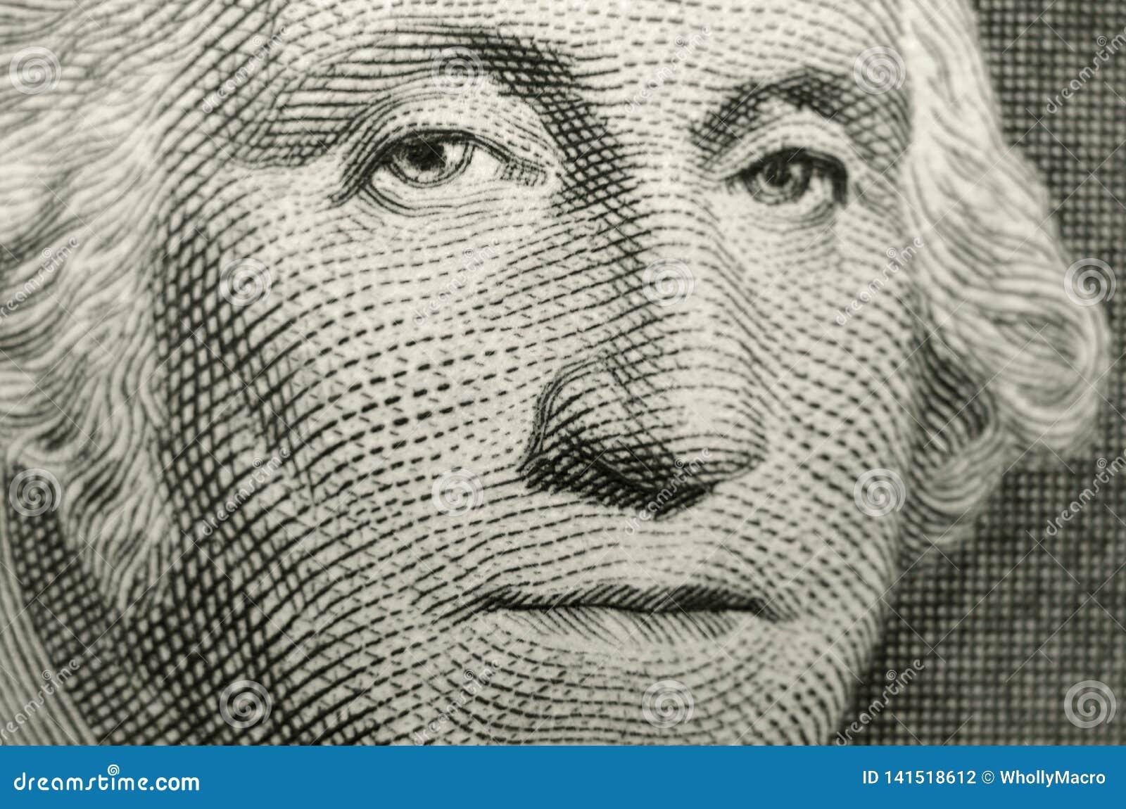 Мелкое изображение фокуса отец-основателя Соединенных Штатов Америки, президента Джорджа Вашингтона