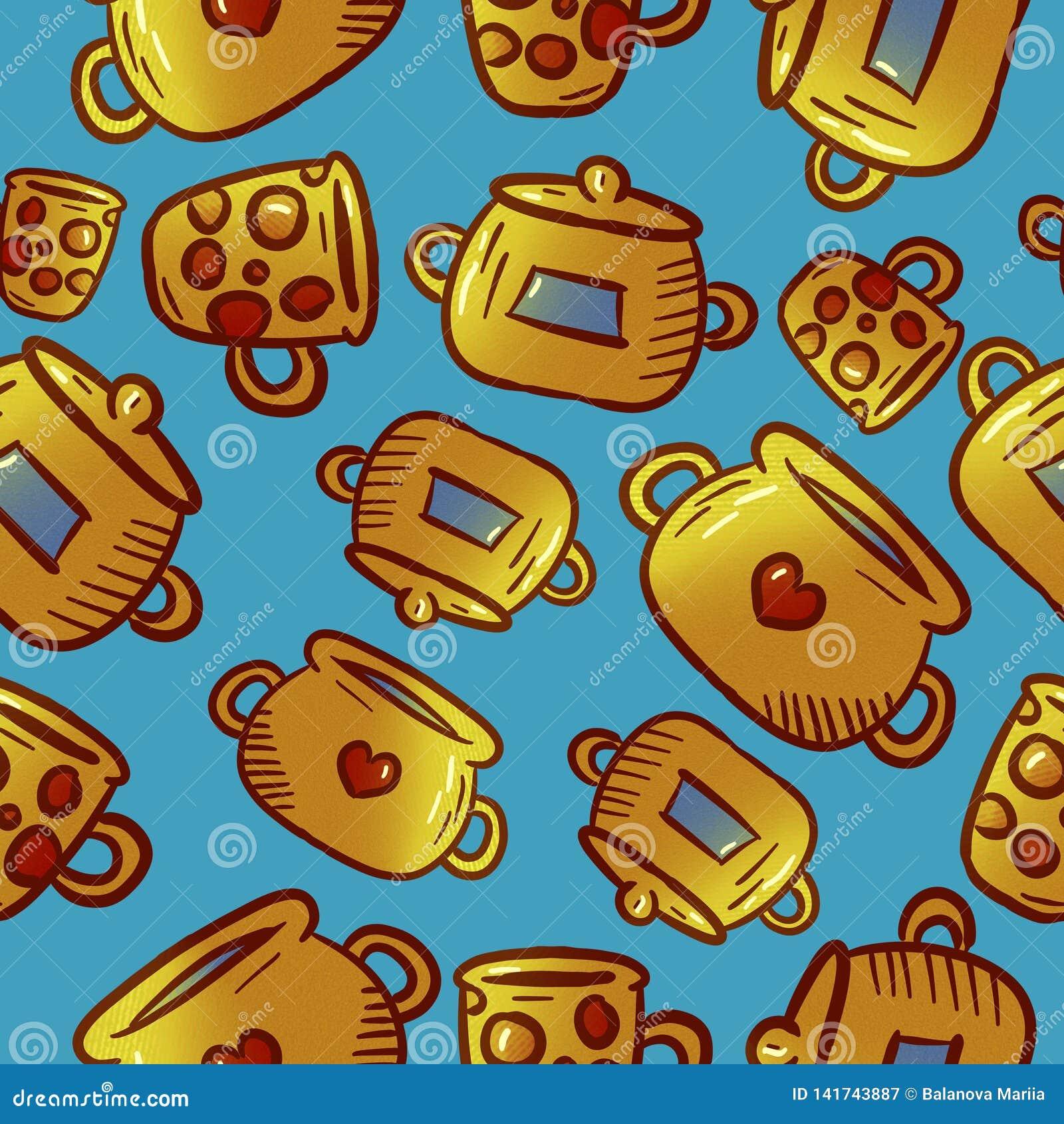 Милая желтая картина иллюстраций kitchenware и утварей