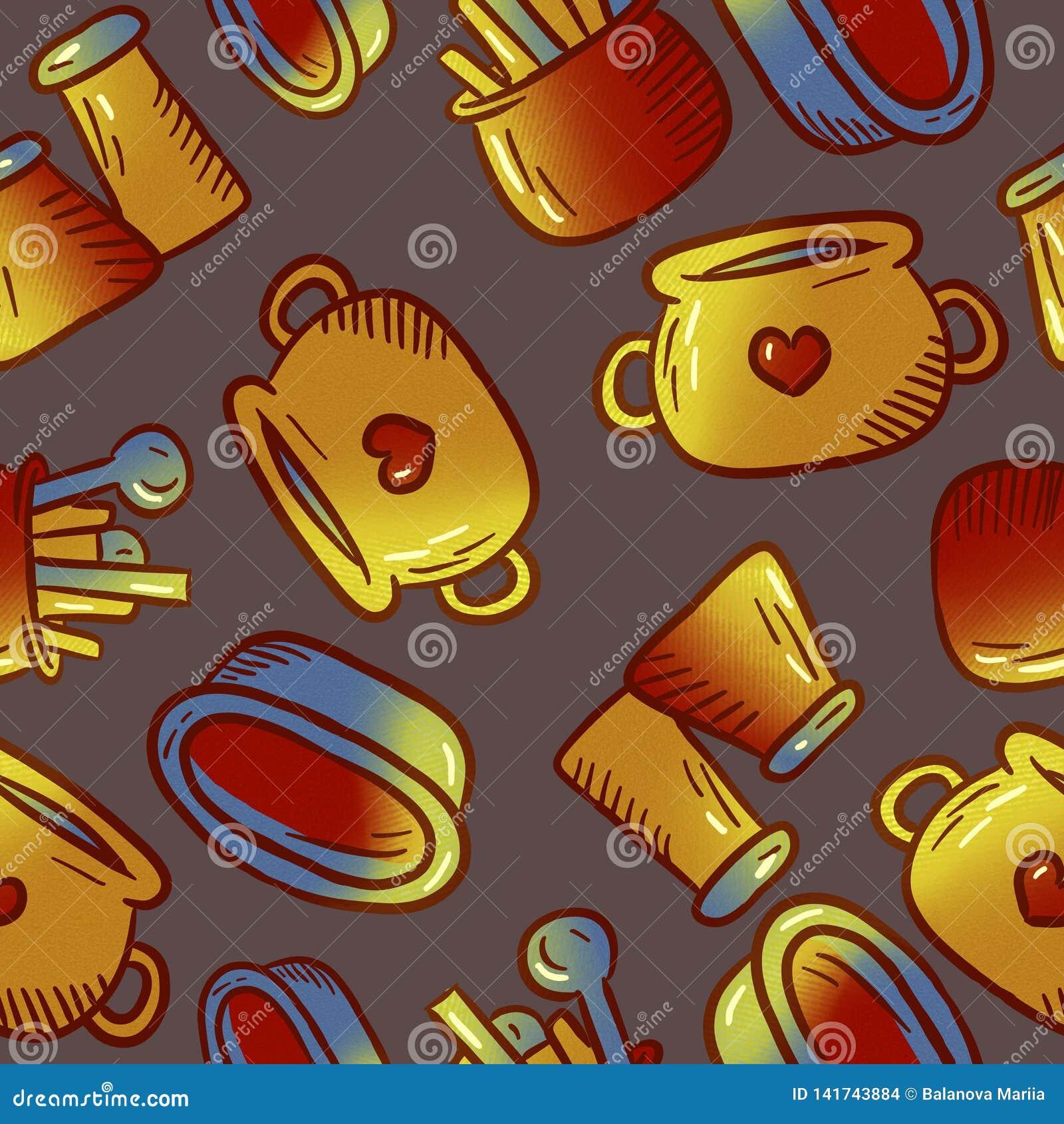 Милая картина иллюстраций kitchenware и утварей Элементы для desig