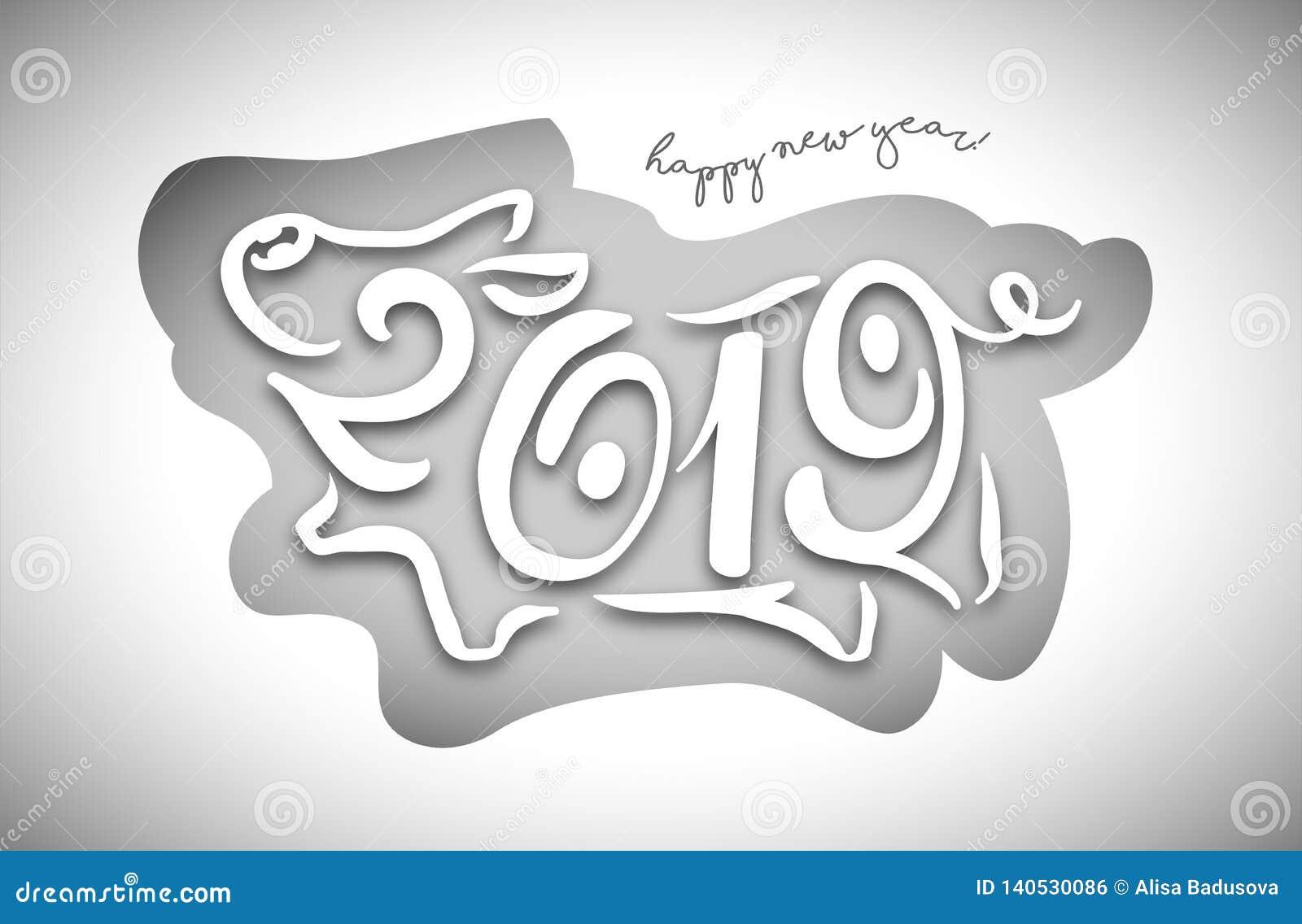 Милая смешная свинья счастливое Новый Год Китайский символ 2019 год Превосходная праздничная карточка подарка также вектор иллюст