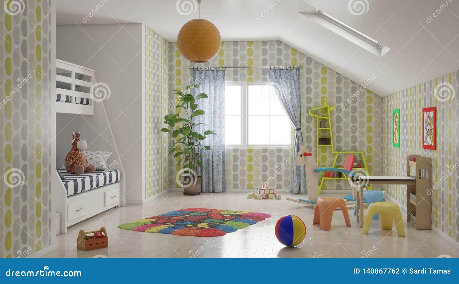 Минимальная комната ребенк с много игрушек и иллюстрацией двухъярусной кровати 3D