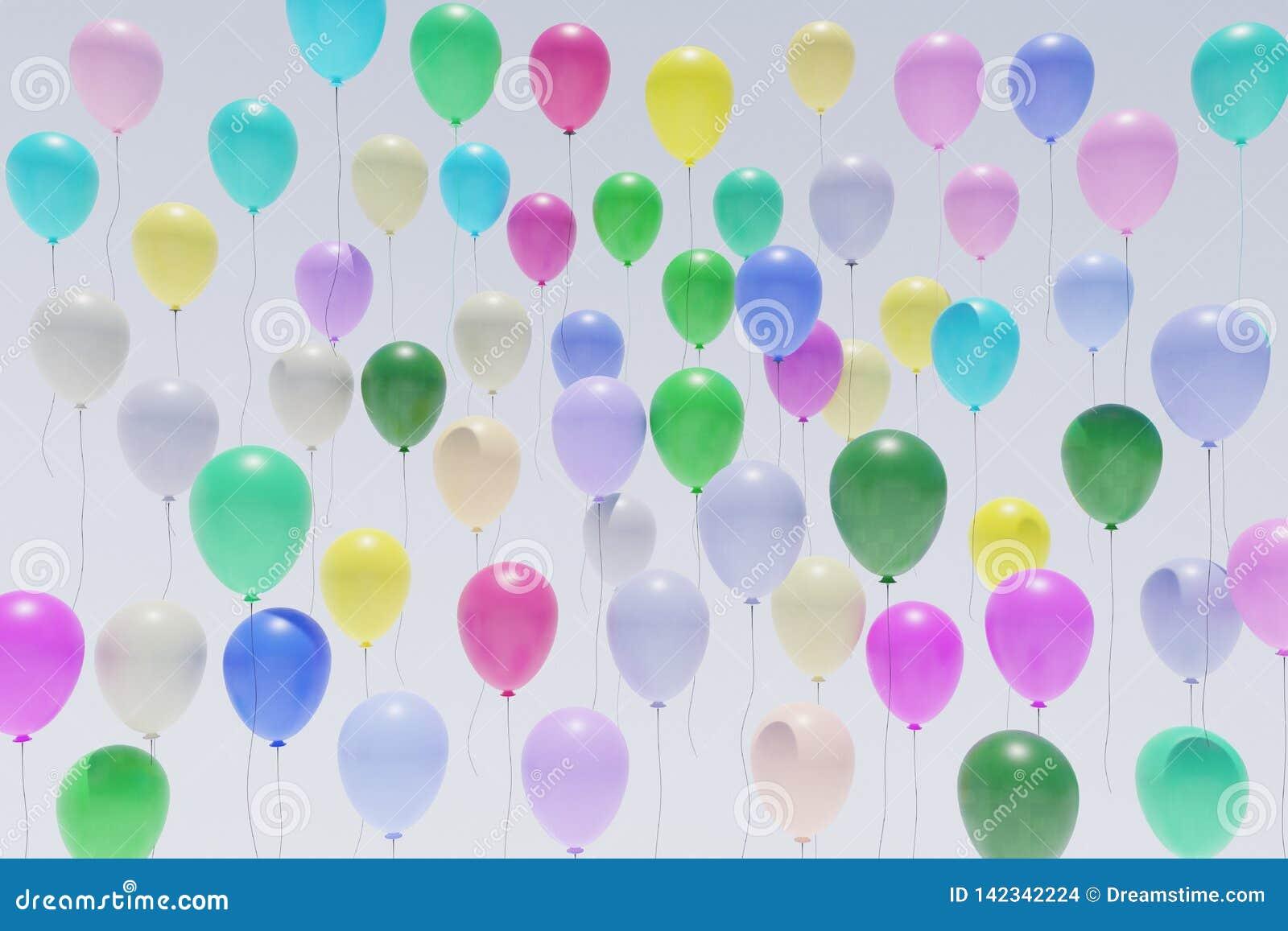 Много вид спереди перевода красочных воздушных шаров восходя 3d