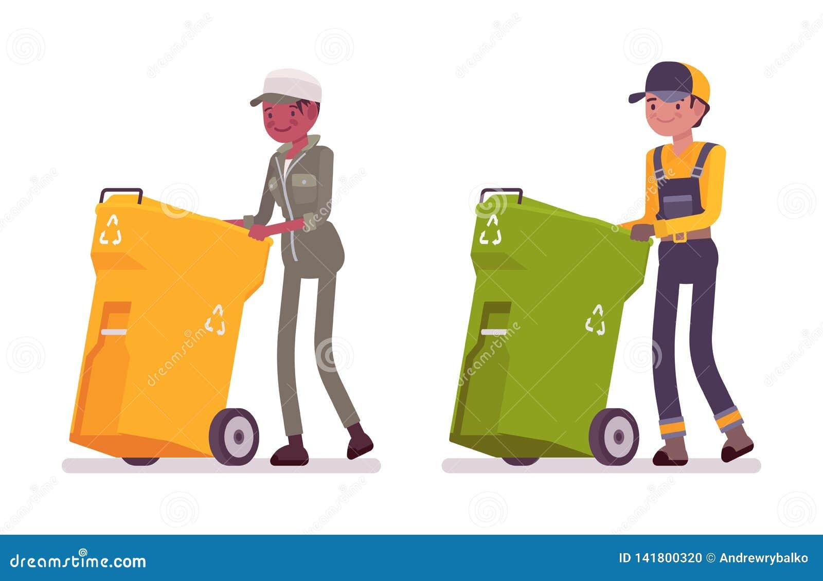 Мужчина и женские ненужные сборники в форме нажимая мусорные ведра
