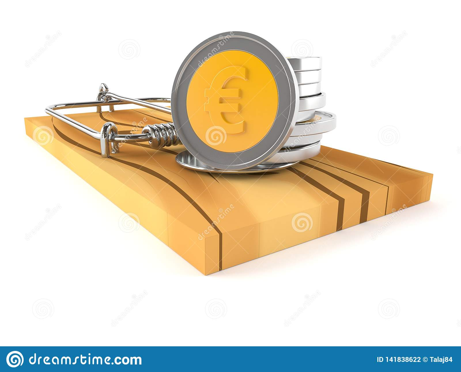 Монетки евро на ловушке мыши