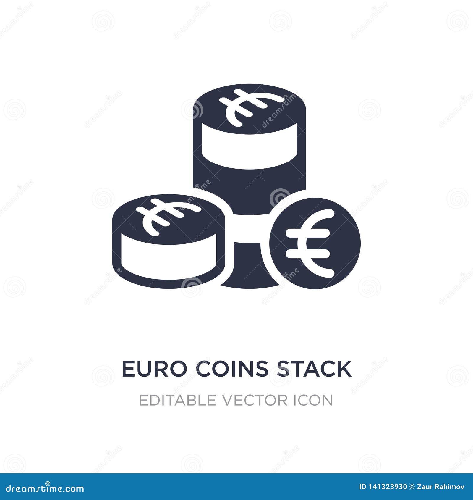 монетки евро штабелируют значок на белой предпосылке Простая иллюстрация элемента от концепции дела