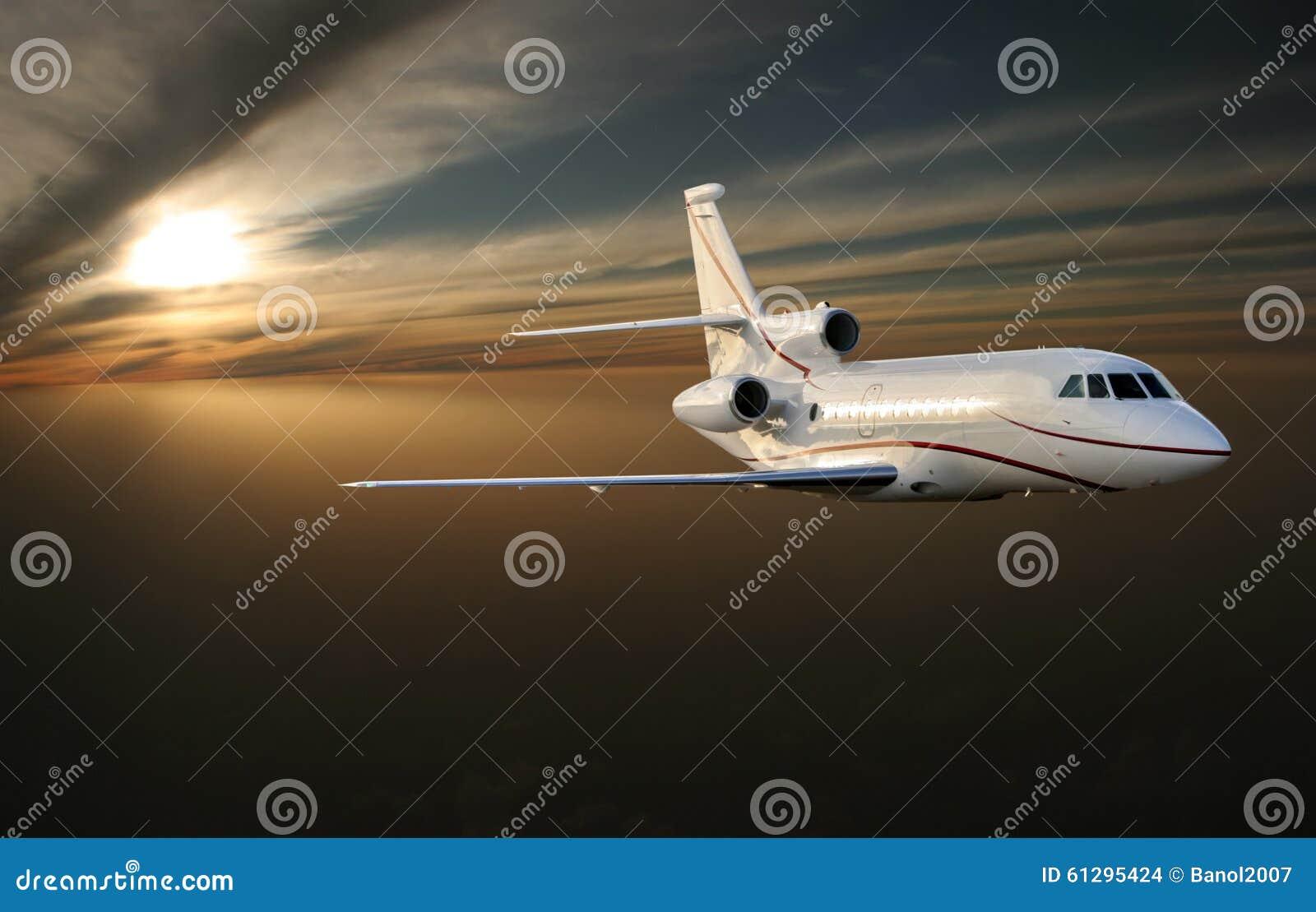 Мorning flight. Luxury jet plane above Earth.