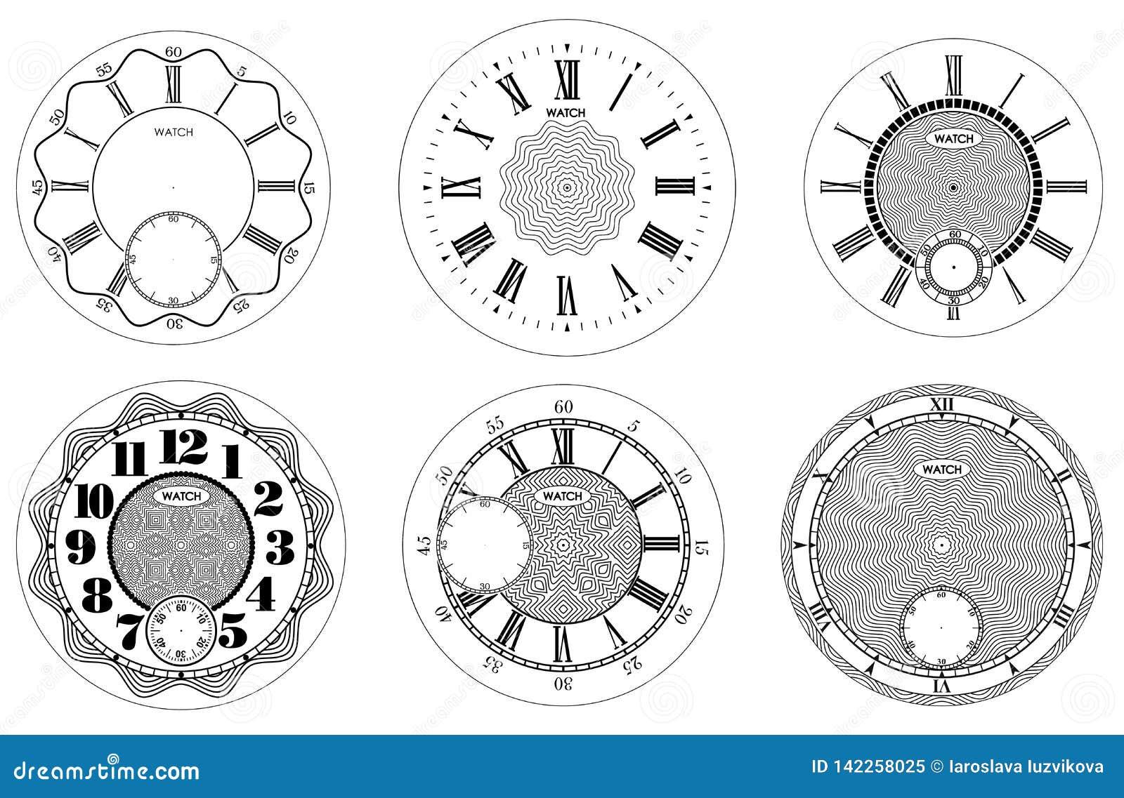 Набор циферблата пустой изолированный на белой предпосылке Дизайн дозора вектора Винтажная римская числительная иллюстрация часов
