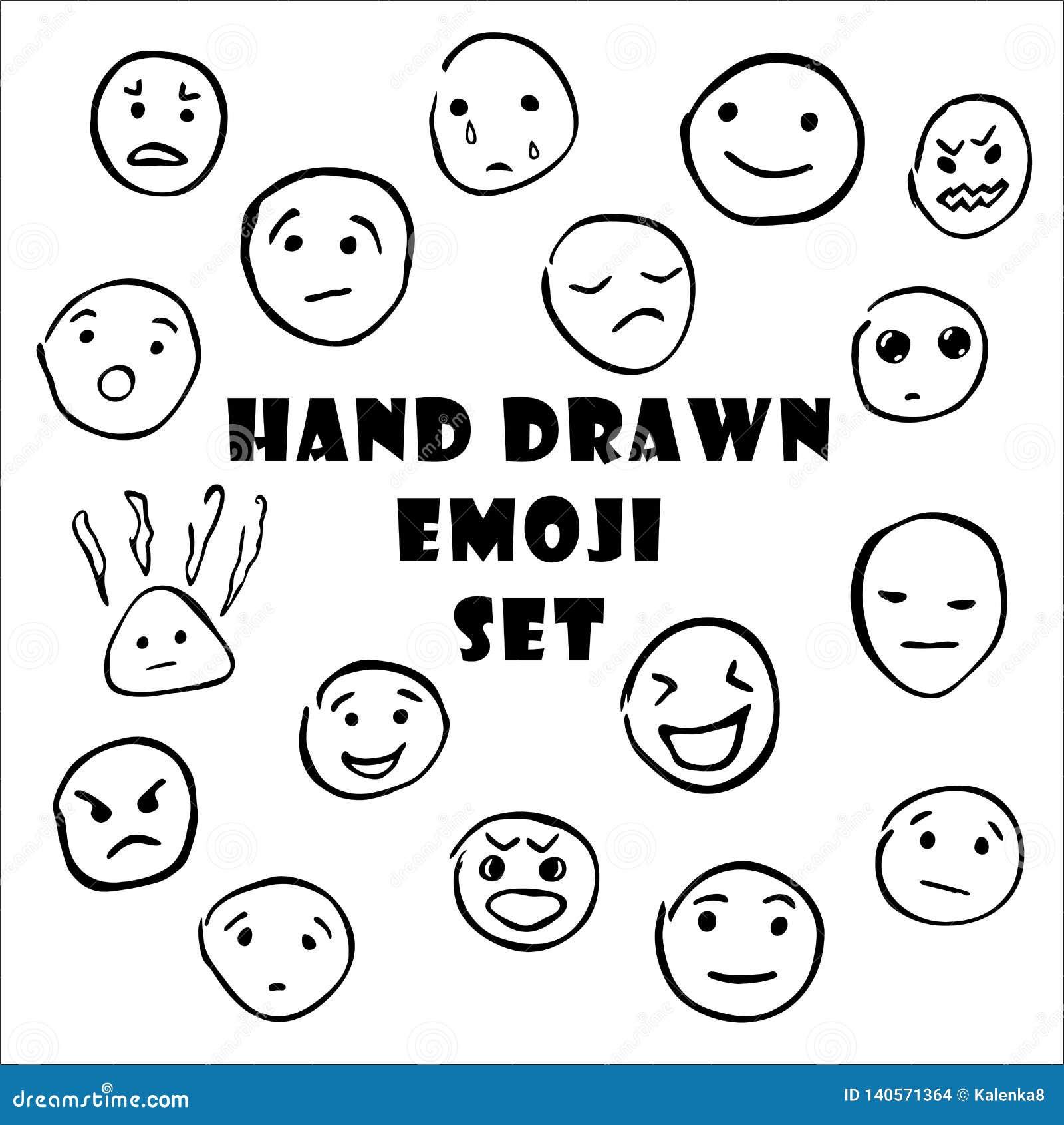 Набор руки вычерченный смайликов, значков emoji smiley