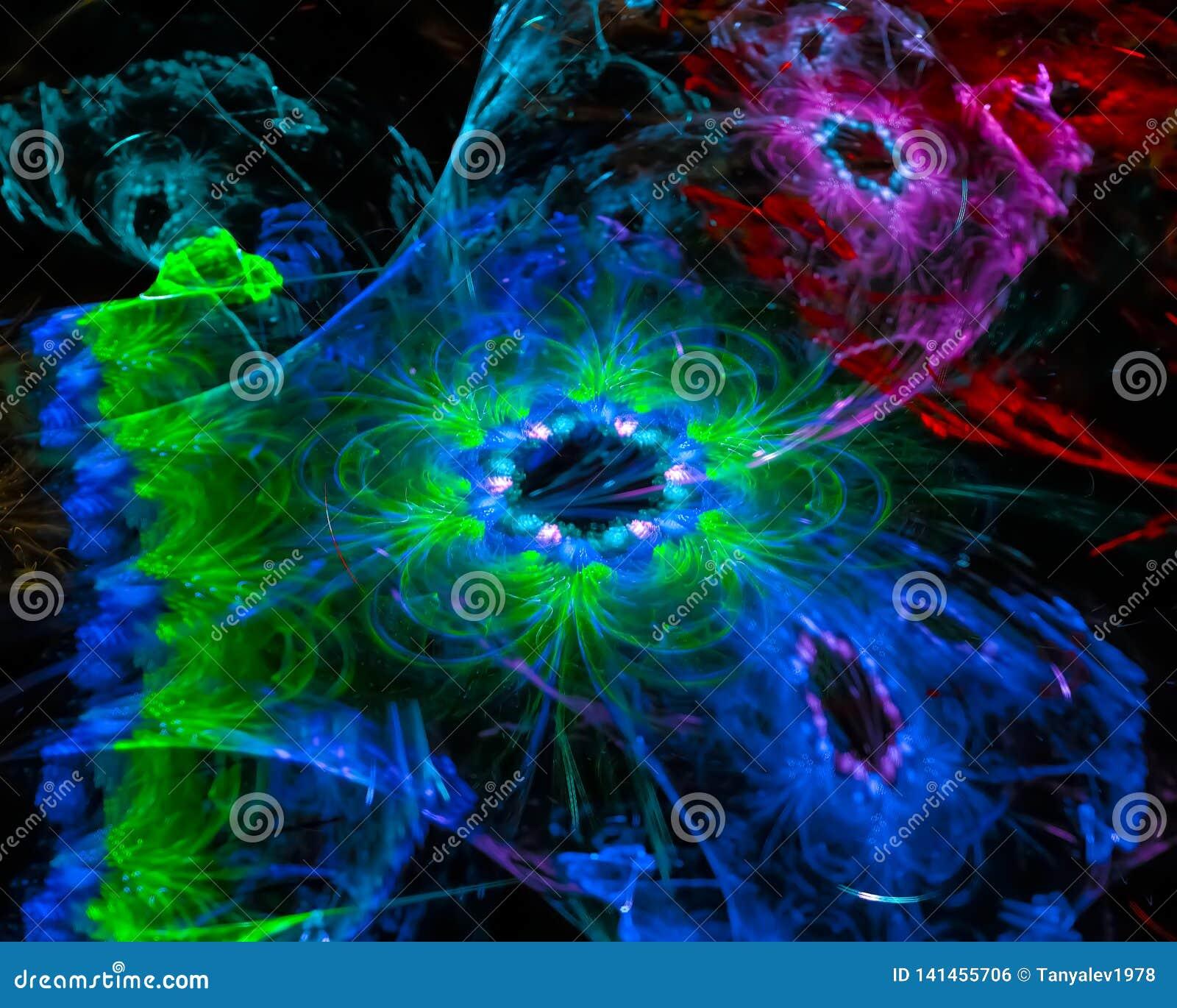 Науки фрактали шаблона текстуры конспекта элегантность украшения красочной творческая футуристическая, динамика