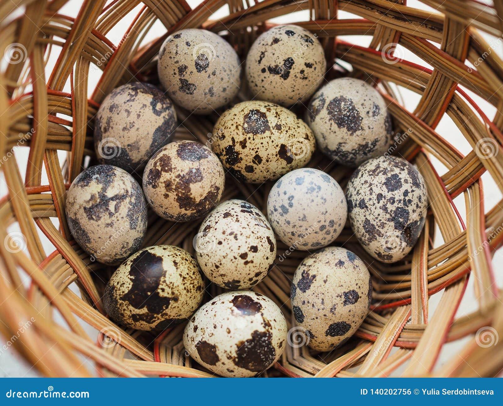 Несколько небольших запятнанных яя триперсток лежат в плетеной корзине