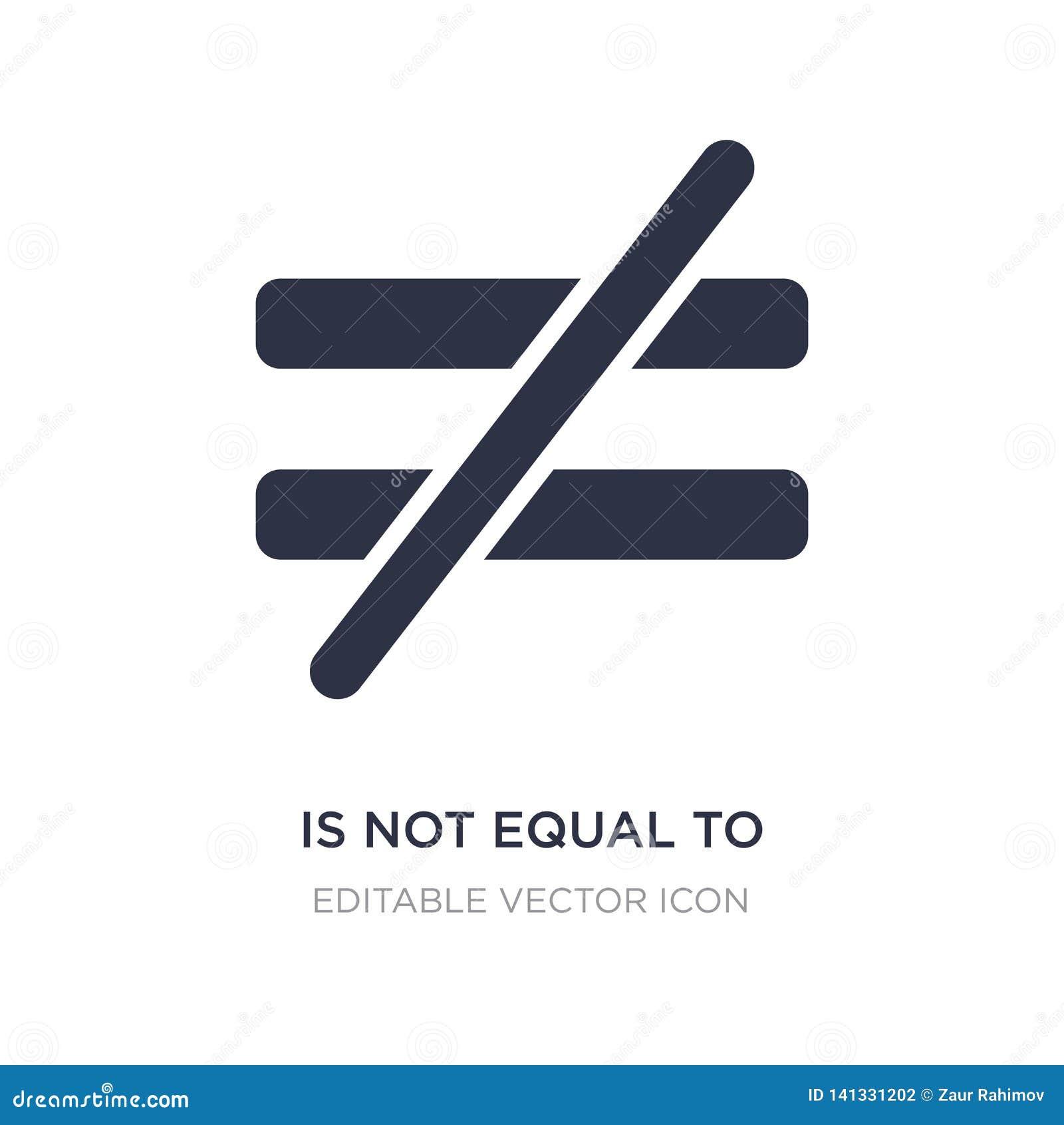 не равный к значку на белой предпосылке Простая иллюстрация элемента от концепции знаков